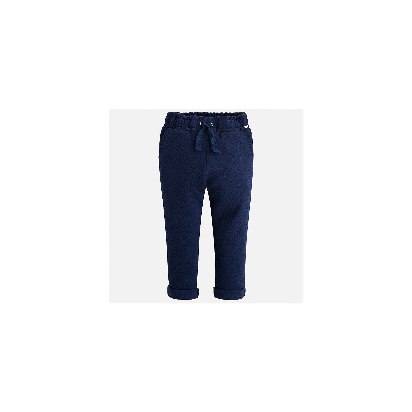 Брюки для девочки MayoralБрюки<br>Характеристики товара:<br><br>• цвет: синий<br>• состав ткани: 86% хлопок, 14% полиэстер<br>• сезон: демисезон<br>• особенности модели: отвороты<br>• пояс: резинка и шнурок<br>• страна бренда: Испания<br>• страна изготовитель: Индия<br><br>Синие брюки сшиты из дышащего приятного на ощупь материала. Благодаря преобладанию в его составе натурального хлопка материал детских брюк создает комфортные условия для тела. Брюки для девочки отличаются стильным дизайном.<br><br>Брюки для девочки Mayoral (Майорал) можно купить в нашем интернет-магазине.<br><br>Ширина мм: 215<br>Глубина мм: 88<br>Высота мм: 191<br>Вес г: 336<br>Цвет: синий<br>Возраст от месяцев: 96<br>Возраст до месяцев: 108<br>Пол: Женский<br>Возраст: Детский<br>Размер: 134,98,104,110,116,122,128<br>SKU: 6945029