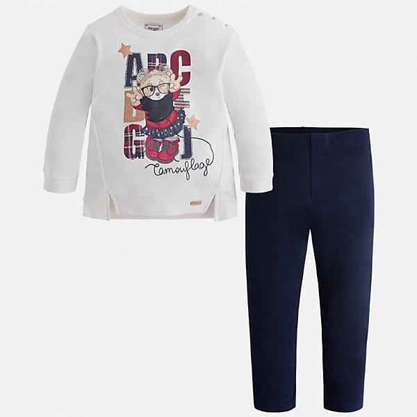 Комплект: блузка и леггинсы для девочки MayoralКомплекты<br>Характеристики товара:<br><br>• цвет: белый/темно-синий<br>• состав ткани: блузка - 95% хлопок, 5% эластан, брюки - 47% хлопок, 48% полиэстер, 5% эластан<br>• комплектация: блузка и леггинсы<br>• сезон: демисезон<br>• особенности модели: принт с блестками<br>• длинные рукава<br>• пояс: резинка <br>• страна бренда: Испания<br>• страна изготовитель: Индия<br><br>Этот детский комплект из блузки и леггинсов подойдет для ношения в разных случаях. Отличный способ обеспечить ребенку тепло и комфорт - надеть детские блузку и леггинсы от Mayoral. Детские леггинсы сшиты из приятного на ощупь материала. Блуза для девочки Mayoral удобно сидит по фигуре. <br><br>Комплект: блузка и леггинсы для девочки Mayoral (Майорал) можно купить в нашем интернет-магазине.<br>Ширина мм: 123; Глубина мм: 10; Высота мм: 149; Вес г: 209; Цвет: синий/белый; Возраст от месяцев: 18; Возраст до месяцев: 24; Пол: Женский; Возраст: Детский; Размер: 92,134,128,122,116,110,104,98; SKU: 6945063;