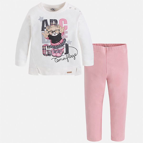 Комплект: блузка и леггинсы для девочки MayoralКомплекты<br>Характеристики товара:<br><br>• цвет: белый/розовый<br>• состав ткани: блузка - 95% хлопок, 5% эластан, брюки - 47% хлопок, 48% полиэстер, 5% эластан<br>• комплектация: блузка и леггинсы<br>• сезон: демисезон<br>• особенности модели: принт с блестками<br>• длинные рукава<br>• пояс: резинка <br>• страна бренда: Испания<br>• страна изготовитель: Индия<br><br>Блузка и леггинсы для девочки отлично сочетаются между собой, а также с другими вещами. Такой практичный и модный детский комплект из блузки и леггинсов для девочки подойдет для ношения в разных случаях. Детские леггинсы сшиты из приятного на ощупь материала. Блузка для девочки Mayoral удобно сидит по фигуре. <br><br>Комплект: блузка и леггинсы для девочкиMayoral (Майорал) можно купить в нашем интернет-магазине.<br>Ширина мм: 123; Глубина мм: 10; Высота мм: 149; Вес г: 209; Цвет: розовый/белый; Возраст от месяцев: 18; Возраст до месяцев: 24; Пол: Женский; Возраст: Детский; Размер: 128,122,116,110,104,98,92,134; SKU: 6945081;