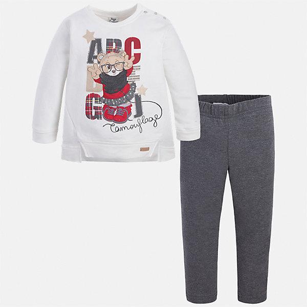 Купить Комплект: блузка и леггинсы для девочки Mayoral, Китай, белый/серый, 92, 134, 128, 122, 116, 110, 104, 98, Женский