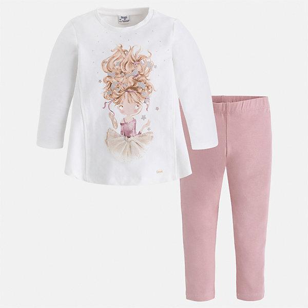 Комплект: толстовка и леггинсы для девочки MayoralКомплекты<br>Характеристики товара:<br><br>• цвет: белый/розовый<br>• состав ткани: блузка - 95% хлопок, 5% эластан, брюки - 47% хлопок, 48% полиэстер, 5% эластан<br>• комплектация: блузка и леггинсы<br>• сезон: демисезон<br>• особенности модели: принт с блестками и стразами<br>• длинные рукава<br>• пояс: резинка <br>• страна бренда: Испания<br>• страна изготовитель: Индия<br><br>Трикотажные блузка и леггинсы для девочки отлично сочетаются между собой, а также с другими вещами. Такой практичный и модный детский комплект из блузки и леггинсов для девочки подойдет для ношения в разных случаях. Детские леггинсы сшиты из приятного на ощупь материала. Блузка для девочки Mayoral удобно сидит по фигуре. <br><br>Комплект: блузка и леггинсы для девочкиMayoral (Майорал) можно купить в нашем интернет-магазине.<br>Ширина мм: 123; Глубина мм: 10; Высота мм: 149; Вес г: 209; Цвет: розовый/белый; Возраст от месяцев: 18; Возраст до месяцев: 24; Пол: Женский; Возраст: Детский; Размер: 92,134,128,122,116,110,104,98; SKU: 6945108;