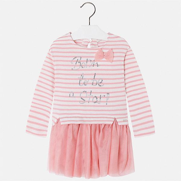 Платье для девочки MayoralПлатья и сарафаны<br>Характеристики товара:<br><br>• цвет: розовый<br>• состав ткани верха: 80% хлопок, 20% полиэстер<br>• подкладка: 100% хлопок<br>• сезон: демисезон<br>• особенности модели: стразы<br>• застежка: пуговица<br>• длинные рукава<br>• страна бренда: Испания<br>• страна изготовитель: Индия<br><br>Красивое детское платье отличается модным и продуманным дизайном. В платье для девочки от испанской компании Майорал ребенок будет выглядеть модно, а чувствовать себя - комфортно. Это платье с принтом для девочки от Майорал поможет обеспечить ребенку комфорт. <br><br>Платье для девочки Mayoral (Майорал) можно купить в нашем интернет-магазине.<br>Ширина мм: 236; Глубина мм: 16; Высота мм: 184; Вес г: 177; Цвет: розовый; Возраст от месяцев: 18; Возраст до месяцев: 24; Пол: Женский; Возраст: Детский; Размер: 110,104,98,92,134,128,122,116; SKU: 6945171;