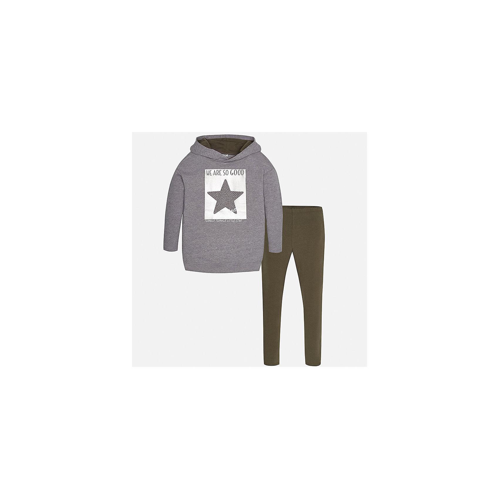 Комплект: блузка и леггинсы для девочки MayoralКомплекты<br>Характеристики товара:<br><br>• цвет: зеленый/серый<br>• состав ткани: толстовка - 65% полиэстер, 35% хлопок, леггинсы - 95% хлопок, 5% эластан<br>• комплектация: толстовка и леггинсы<br>• сезон: демисезон<br>• особенности модели: принт со стразами, капюшон<br>• пояс: резинка<br>• длинные рукава<br>• страна бренда: Испания<br>• страна изготовитель: Индия<br><br>Толстовка с капюшоном и леггинсы для девочки отлично сочетаются между собой, а также с другими вещами. Такой практичный и модный детский комплект из толстовки и леггинсов для девочки подойдет для ношения в разных случаях. Детские леггинсы сшиты из приятного на ощупь материала. Толстовка для девочки Mayoral удобно сидит по фигуре. <br><br>Комплект: толстовка и леггинсы для девочкиMayoral (Майорал) можно купить в нашем интернет-магазине.<br><br>Ширина мм: 123<br>Глубина мм: 10<br>Высота мм: 149<br>Вес г: 209<br>Цвет: зеленый<br>Возраст от месяцев: 168<br>Возраст до месяцев: 180<br>Пол: Женский<br>Возраст: Детский<br>Размер: 170,128/134,140,152,158,164<br>SKU: 6945263