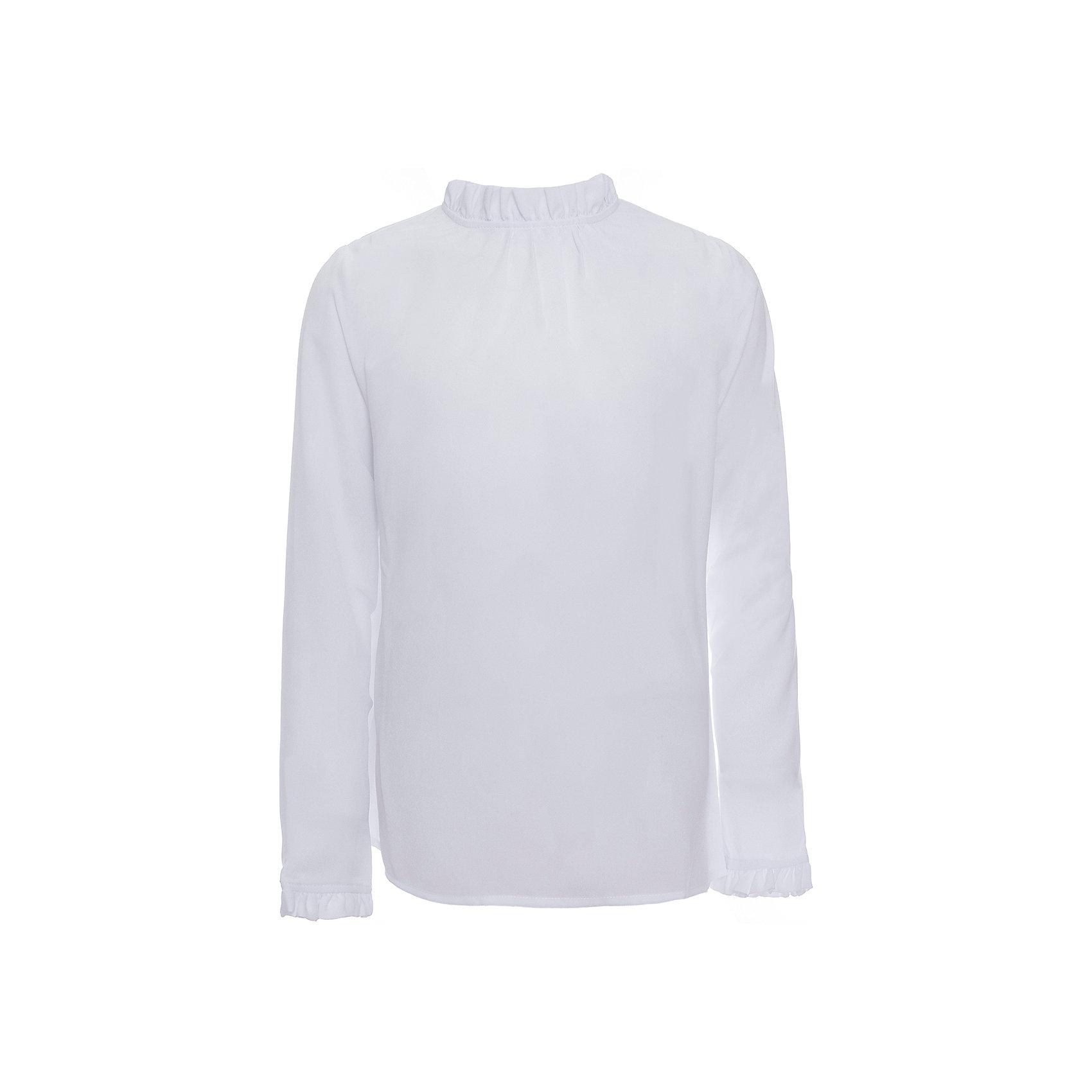 Блузка для девочки OrbyБлузки и рубашки<br>Характеристики товара:<br><br>• цвет: белый<br>• состав ткани:40% вискоза, 60% ПЭ<br>• особенности: школьная, праздничная<br>• длинные рукава<br>• застежка: пуговицы<br>• рюши на воротнике и рукавах<br>• сезон: круглый год<br>• страна бренда: Россия<br>• страна изготовитель: Россия<br><br>Белая блузка для девочки Orby - базовая вещь гардероба. Такая блузка - отличный вариант практичной и стильной школьной одежды. <br><br>Школьная блузка из белого легкого материала поможет ребенку выглядеть стильно и соответствовать школьному дресс-коду.<br><br>Блузку для девочки Orby (Орби) можно купить в нашем интернет-магазине.<br><br>Ширина мм: 186<br>Глубина мм: 87<br>Высота мм: 198<br>Вес г: 197<br>Цвет: белый<br>Возраст от месяцев: 168<br>Возраст до месяцев: 180<br>Пол: Женский<br>Возраст: Детский<br>Размер: 170,140,122,128,134,146,152,158,164<br>SKU: 6960258
