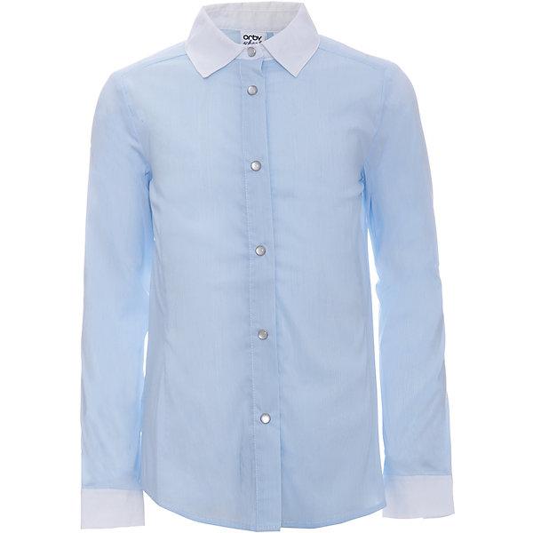 Блузка для девочки OrbyБлузки и рубашки<br>Характеристики товара:<br><br>• цвет: голубой<br>• состав ткани: 65% вискоза, 32% акрил, 3% эластан<br>• особенности: школьная<br>• длинные рукава<br>• застежка: кнопки<br>• контрастный воротник и манжеты<br>• приталенный силуэт<br>• сезон: круглый год<br>• страна бренда: Россия<br>• страна изготовитель: Россия<br><br>Голубая блузка для девочки Orby - отличный вариант практичной и стильной школьной одежды. <br><br>Школьная блузка из легкого материала обеспечит красивый внешний вид и комфорт одновременно.<br><br>Блузку для девочки Orby (Орби) можно купить в нашем интернет-магазине.<br><br>Ширина мм: 186<br>Глубина мм: 87<br>Высота мм: 198<br>Вес г: 197<br>Цвет: голубой<br>Возраст от месяцев: 72<br>Возраст до месяцев: 84<br>Пол: Женский<br>Возраст: Детский<br>Размер: 122,170,164,158,152,146,140,134,128<br>SKU: 6960268