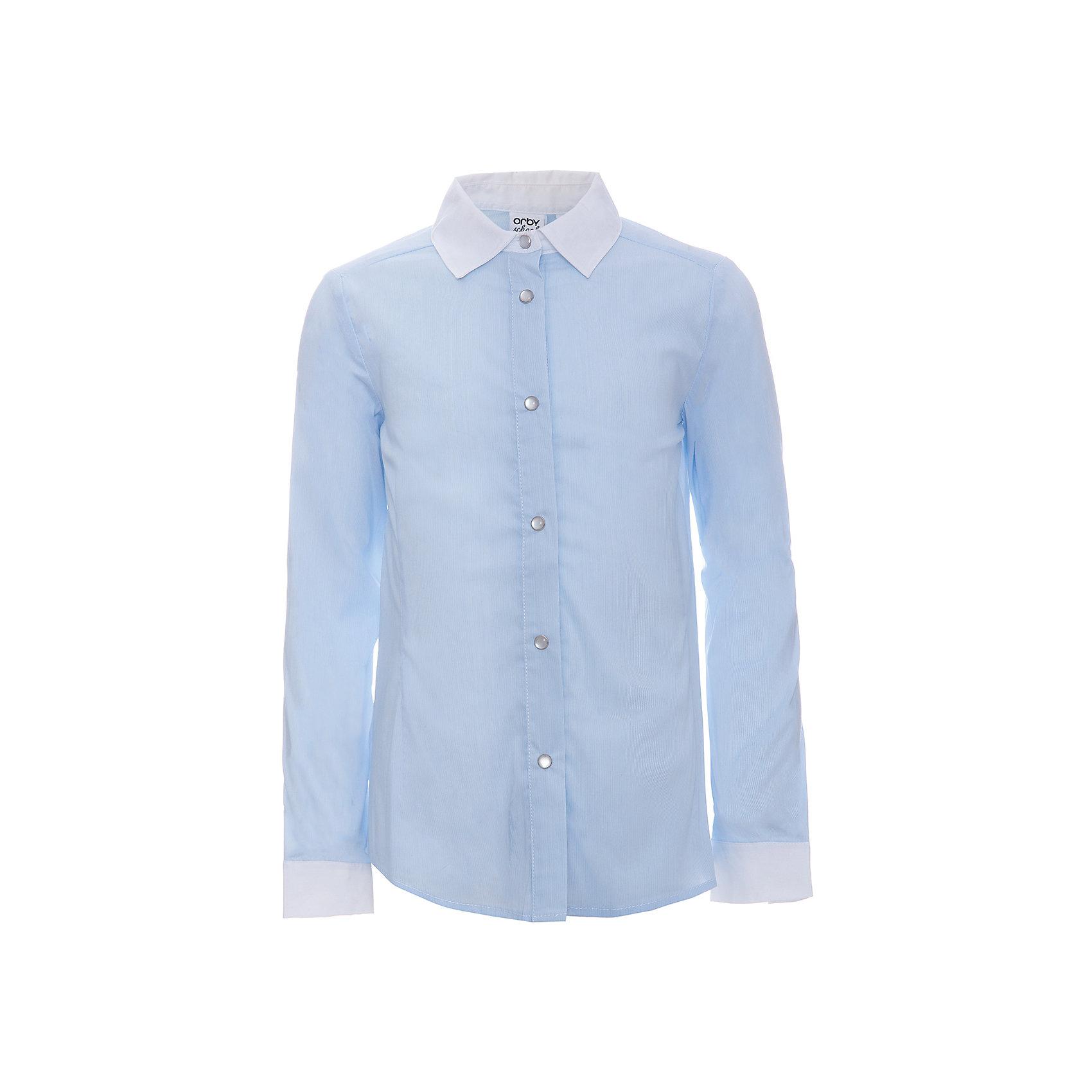 Блузка для девочки OrbyБлузки и рубашки<br>Характеристики товара:<br><br>• цвет: голубой<br>• состав ткани: 65% вискоза, 32% акрил, 3% эластан<br>• особенности: школьная<br>• длинные рукава<br>• застежка: кнопки<br>• контрастный воротник и манжеты<br>• приталенный силуэт<br>• сезон: круглый год<br>• страна бренда: Россия<br>• страна изготовитель: Россия<br><br>Голубая блузка для девочки Orby - отличный вариант практичной и стильной школьной одежды. <br><br>Школьная блузка из легкого материала обеспечит красивый внешний вид и комфорт одновременно.<br><br>Блузку для девочки Orby (Орби) можно купить в нашем интернет-магазине.<br><br>Ширина мм: 186<br>Глубина мм: 87<br>Высота мм: 198<br>Вес г: 197<br>Цвет: голубой<br>Возраст от месяцев: 108<br>Возраст до месяцев: 120<br>Пол: Женский<br>Возраст: Детский<br>Размер: 140,146,152,158,164,170,122,128,134<br>SKU: 6960268