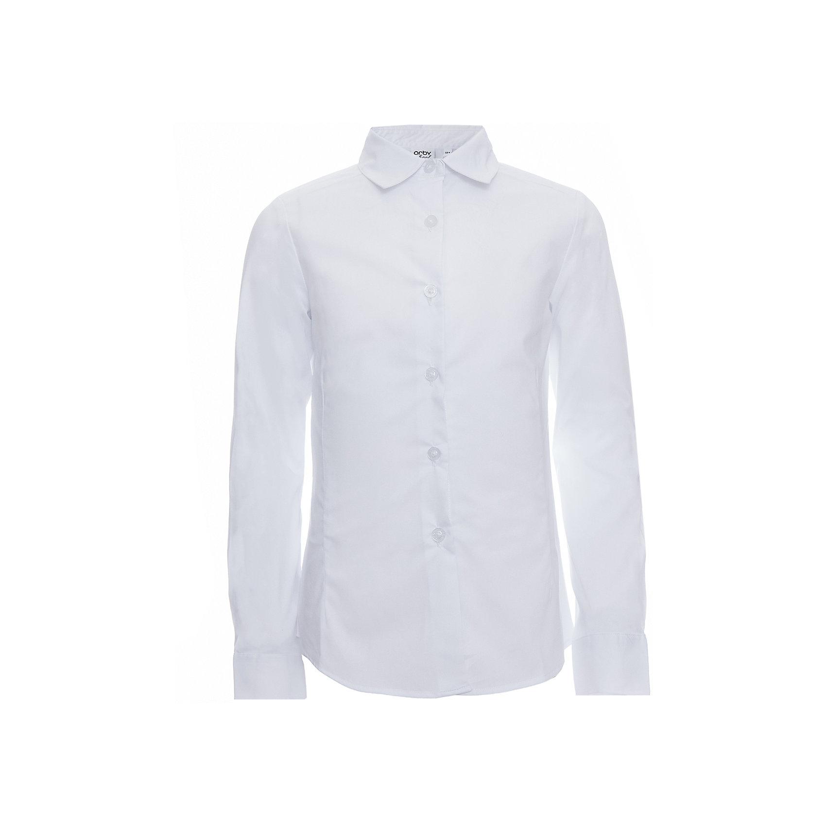 Блузка для девочки OrbyБлузки и рубашки<br>Характеристики товара:<br><br>• цвет: белый<br>• состав ткани: 66% ПЭ, 30% хлопок, 4%эластан<br>• особенности: школьная, праздничная<br>• длинные рукава<br>• застежка: пуговицы<br>• приталенный силуэт<br>• отложной воротник<br>• сезон: круглый год<br>• страна бренда: Россия<br>• страна изготовитель: Россия<br><br>Белая приталенная блузка для девочки Orby - базовая вещь гардероба. Такая блузка - отличный вариант практичной и стильной школьной одежды. <br><br>Белая школьная блузка поможет ребенку выглядеть стильно и соответствовать школьному дресс-коду.<br><br>Блузку для девочки Orby (Орби) можно купить в нашем интернет-магазине.<br><br>Ширина мм: 186<br>Глубина мм: 87<br>Высота мм: 198<br>Вес г: 197<br>Цвет: белый<br>Возраст от месяцев: 120<br>Возраст до месяцев: 132<br>Пол: Женский<br>Возраст: Детский<br>Размер: 146,152,158,164,170,122,128,134,140<br>SKU: 6960278