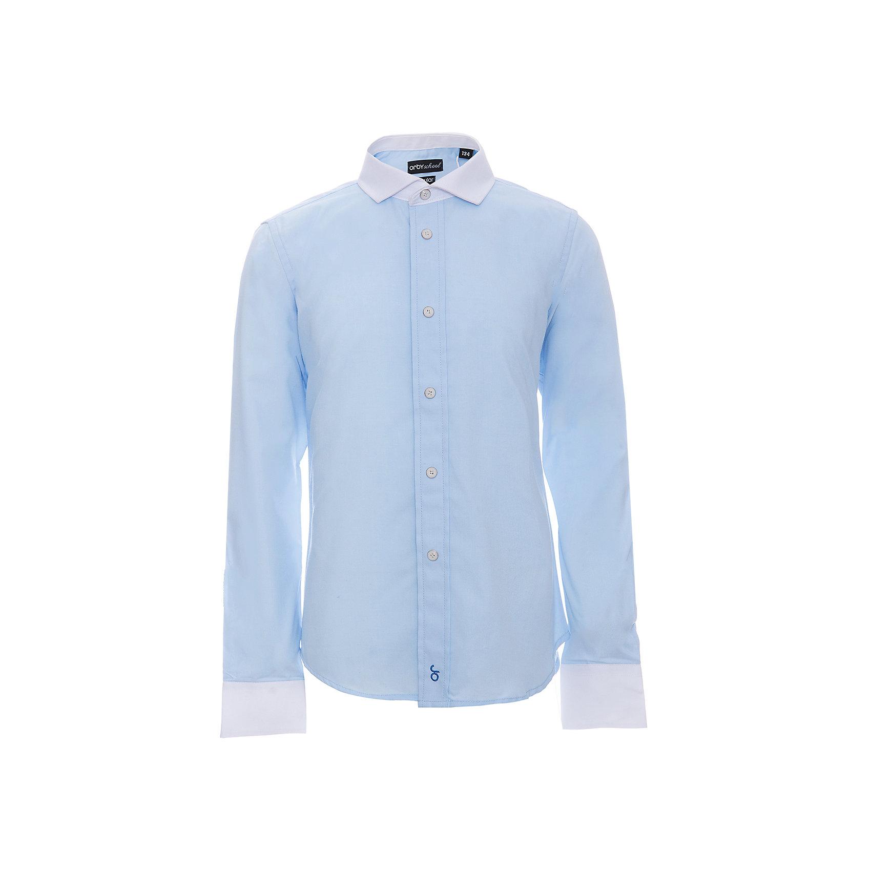 Рубашка для мальчика OrbyБлузки и рубашки<br>Характеристики товара:<br><br>• цвет: голубой<br>• состав ткани: 40% хлопок, 60% ПЭ<br>• особенности: школьная, праздничная<br>• длинные рукава<br>• застежка: пуговицы<br>• контрастный воротник и манжеты<br>• сезон: круглый год<br>• страна бренда: Россия<br>• страна изготовитель: Россия<br><br>Голубая рубашка для мальчика Orby - отличный способ разнообразить гардероб. Такая классическая сорочка хорошо дополнит школьную форму. <br><br>Классическая рубашка поможет ребенку выглядеть стильно и чувствовать себя комфортно. Сшита из материала с добавлением натурального хлопка.<br><br>Рубашку для мальчика Orby (Орби) можно купить в нашем интернет-магазине.<br><br>Ширина мм: 174<br>Глубина мм: 10<br>Высота мм: 169<br>Вес г: 157<br>Цвет: голубой<br>Возраст от месяцев: 156<br>Возраст до месяцев: 168<br>Пол: Мужской<br>Возраст: Детский<br>Размер: 164,170,122,128,134,140,146,152,158<br>SKU: 6960324