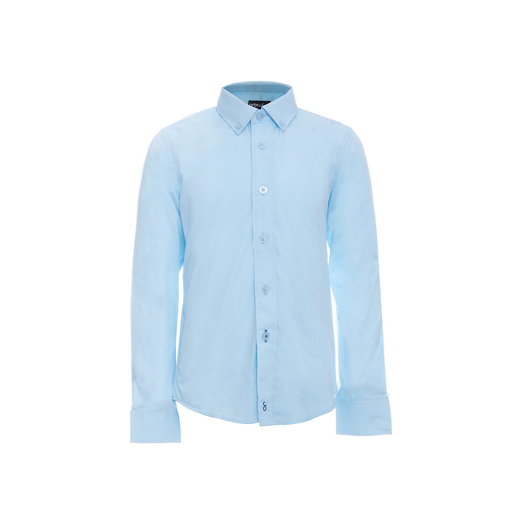 Рубашка для мальчика OrbyБлузки и рубашки<br>Характеристики товара:<br><br>• цвет: голубой<br>• состав ткани: 40% хлопок, 60% ПЭ<br>• особенности: школьная, праздничная<br>• длинные рукава<br>• застежка: пуговицы<br>• отложной воротник<br>• сезон: круглый год<br>• страна бренда: Россия<br>• страна изготовитель: Россия<br><br>Классическая голубая рубашка для мальчика Orby - поможет ребенку выглядеть стильно и чувствовать себя комфортно. Голубая сорочка хорошо дополнит школьную форму. <br><br>Школьная рубашка сшита из материала с добавлением натурального хлопка.<br><br>Рубашку для мальчика Orby (Орби) можно купить в нашем интернет-магазине.<br><br>Ширина мм: 174<br>Глубина мм: 10<br>Высота мм: 169<br>Вес г: 157<br>Цвет: голубой<br>Возраст от месяцев: 156<br>Возраст до месяцев: 168<br>Пол: Мужской<br>Возраст: Детский<br>Размер: 164,122,128,134,140,146,152,158<br>SKU: 6960334