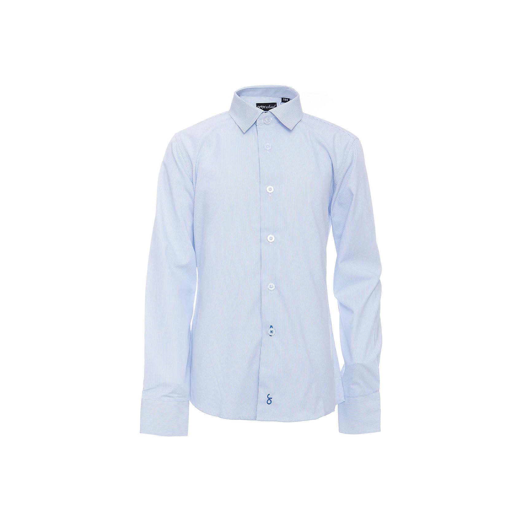 Рубашка для мальчика OrbyБлузки и рубашки<br>Характеристики товара:<br><br>• цвет: голубой<br>• состав ткани: 40% хлопок, 60% ПЭ<br>• особенности: школьная, праздничная<br>• длинные рукава<br>• застежка: пуговицы<br>• контрастный воротник и манжеты<br>• сезон: круглый год<br>• страна бренда: Россия<br>• страна изготовитель: Россия<br><br>Голубая рубашка в полоску для мальчика Orby - отличный способ разнообразить гардероб. Такая классическая сорочка хорошо дополнит школьную форму. <br><br>Классическая рубашка поможет ребенку выглядеть стильно и чувствовать себя комфортно. Сшита из материала с добавлением натурального хлопка.<br><br>Рубашку для мальчика Orby (Орби) можно купить в нашем интернет-магазине.<br><br>Ширина мм: 174<br>Глубина мм: 10<br>Высота мм: 169<br>Вес г: 157<br>Цвет: голубой<br>Возраст от месяцев: 144<br>Возраст до месяцев: 156<br>Пол: Мужской<br>Возраст: Детский<br>Размер: 158,164,170,122,128,134,140,146,152<br>SKU: 6960343