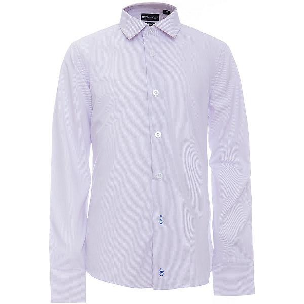 Рубашка для мальчика OrbyБлузки и рубашки<br>Характеристики товара:<br><br>• цвет: фиолетовый<br>• состав ткани: 40% хлопок, 60% ПЭ<br>• особенности: школьная<br>• длинные рукава<br>• застежка: пуговицы<br>• контрастный воротник и манжеты<br>• сезон: круглый год<br>• страна бренда: Россия<br>• страна изготовитель: Россия<br><br>Фиолетовая рубашка в полоску для мальчика Orby - отличный способ разнообразить гардероб. Сшита из материала с добавлением натурального хлопка.<br><br>Классическая рубашка поможет ребенку выглядеть стильно и чувствовать себя комфортно. Такая классическая сорочка хорошо дополнит школьную форму. <br><br>Рубашку для мальчика Orby (Орби) можно купить в нашем интернет-магазине.<br><br>Ширина мм: 174<br>Глубина мм: 10<br>Высота мм: 169<br>Вес г: 157<br>Цвет: лиловый<br>Возраст от месяцев: 144<br>Возраст до месяцев: 156<br>Пол: Мужской<br>Возраст: Детский<br>Размер: 158,164,170,122,128,134,140,146,152<br>SKU: 6960353