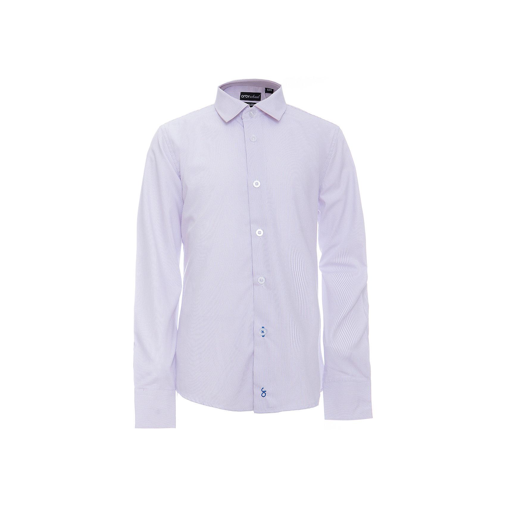Рубашка для мальчика OrbyБлузки и рубашки<br>Характеристики товара:<br><br>• цвет: фиолетовый<br>• состав ткани: 40% хлопок, 60% ПЭ<br>• особенности: школьная<br>• длинные рукава<br>• застежка: пуговицы<br>• контрастный воротник и манжеты<br>• сезон: круглый год<br>• страна бренда: Россия<br>• страна изготовитель: Россия<br><br>Фиолетовая рубашка в полоску для мальчика Orby - отличный способ разнообразить гардероб. Сшита из материала с добавлением натурального хлопка.<br><br>Классическая рубашка поможет ребенку выглядеть стильно и чувствовать себя комфортно. Такая классическая сорочка хорошо дополнит школьную форму. <br><br>Рубашку для мальчика Orby (Орби) можно купить в нашем интернет-магазине.<br><br>Ширина мм: 174<br>Глубина мм: 10<br>Высота мм: 169<br>Вес г: 157<br>Цвет: фиолетовый<br>Возраст от месяцев: 156<br>Возраст до месяцев: 168<br>Пол: Мужской<br>Возраст: Детский<br>Размер: 164,170,122,128,134,140,146,152,158<br>SKU: 6960353