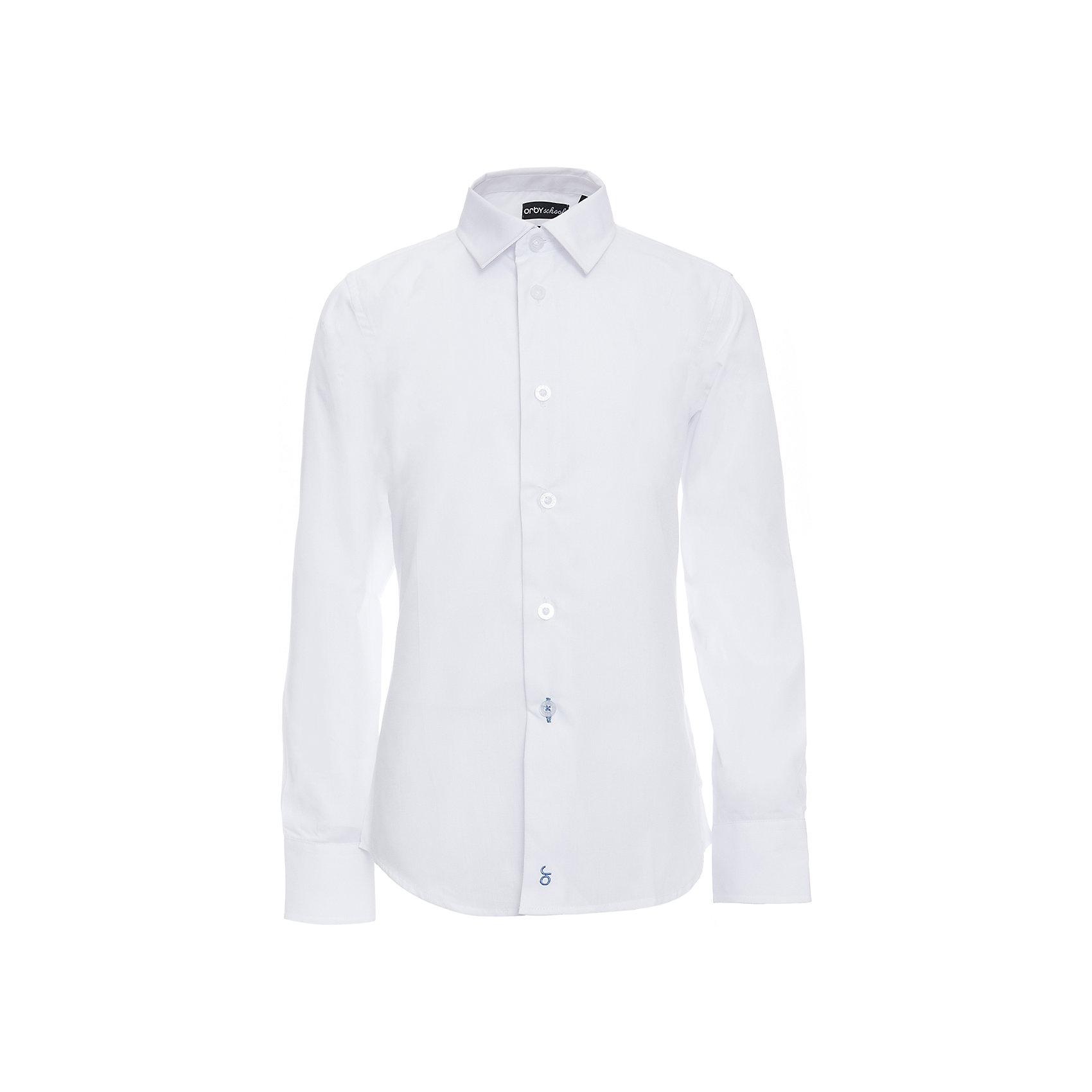 Рубашка для мальчика OrbyБлузки и рубашки<br>Характеристики товара:<br><br>• цвет: белый<br>• состав ткани: 65 % ПЭ, 35 % хлопок<br>• особенности: школьная, праздничная<br>• длинные рукава<br>• застежка: пуговицы<br>• отложной воротник<br>• сезон: круглый год<br>• страна бренда: Россия<br>• страна изготовитель: Россия<br><br>Белая классическая рубашка для мальчика Orby - базовая вещь гардероба. Такая классическая сорочка хорошо дополнит школьную форму. <br><br>Модель сшита из материала с добавлением натурального хлопка. Классическая рубашка поможет ребенку выглядеть стильно и чувствовать себя комфортно. <br><br>Рубашку для мальчика Orby (Орби) можно купить в нашем интернет-магазине.<br><br>Ширина мм: 174<br>Глубина мм: 10<br>Высота мм: 169<br>Вес г: 157<br>Цвет: белый<br>Возраст от месяцев: 168<br>Возраст до месяцев: 180<br>Пол: Мужской<br>Возраст: Детский<br>Размер: 170,122,128,134,140,146,152,158,164<br>SKU: 6960363