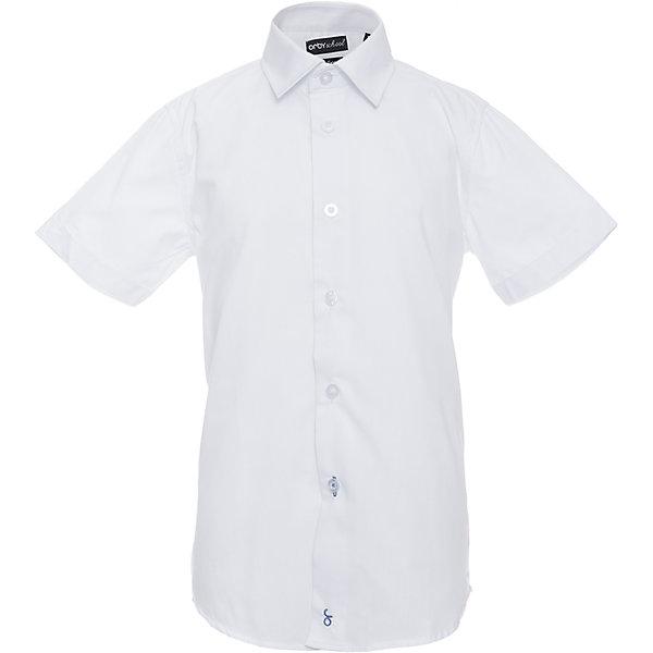 Рубашка для мальчика OrbyБлузки и рубашки<br>Характеристики товара:<br><br>• цвет: белый<br>• состав ткани: 65 % ПЭ, 35 % хлопок<br>• особенности: школьная, праздничная<br>• короткие рукава<br>• застежка: пуговицы<br>• отложной воротник<br>• сезон: круглый год<br>• страна бренда: Россия<br>• страна изготовитель: Россия<br><br>Белая рубашка с коротким рукавом для мальчика Orby хорошо дополнит школьную форму. <br><br>Модель сшита из материала с добавлением натурального хлопка. Школьная рубашка поможет ребенку выглядеть стильно и чувствовать себя комфортно. <br><br>Рубашку для мальчика Orby (Орби) можно купить в нашем интернет-магазине.<br>Ширина мм: 174; Глубина мм: 10; Высота мм: 169; Вес г: 157; Цвет: белый; Возраст от месяцев: 72; Возраст до месяцев: 84; Пол: Мужской; Возраст: Детский; Размер: 122,170,164,158,152,146,140,134,128; SKU: 6960393;