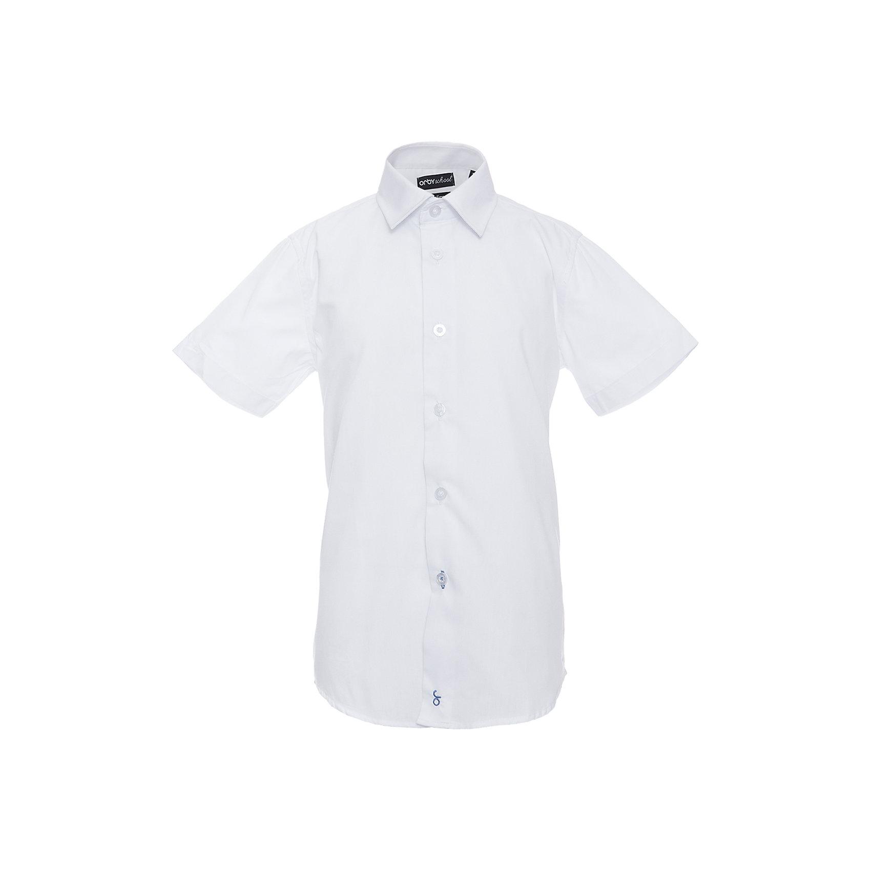 Рубашка для мальчика OrbyБлузки и рубашки<br>Характеристики товара:<br><br>• цвет: белый<br>• состав ткани: 65 % ПЭ, 35 % хлопок<br>• особенности: школьная, праздничная<br>• короткие рукава<br>• застежка: пуговицы<br>• отложной воротник<br>• сезон: круглый год<br>• страна бренда: Россия<br>• страна изготовитель: Россия<br><br>Белая рубашка с коротким рукавом для мальчика Orby хорошо дополнит школьную форму. <br><br>Модель сшита из материала с добавлением натурального хлопка. Школьная рубашка поможет ребенку выглядеть стильно и чувствовать себя комфортно. <br><br>Рубашку для мальчика Orby (Орби) можно купить в нашем интернет-магазине.<br><br>Ширина мм: 174<br>Глубина мм: 10<br>Высота мм: 169<br>Вес г: 157<br>Цвет: белый<br>Возраст от месяцев: 168<br>Возраст до месяцев: 180<br>Пол: Мужской<br>Возраст: Детский<br>Размер: 170,122,128,134,140,146,152,158,164<br>SKU: 6960393