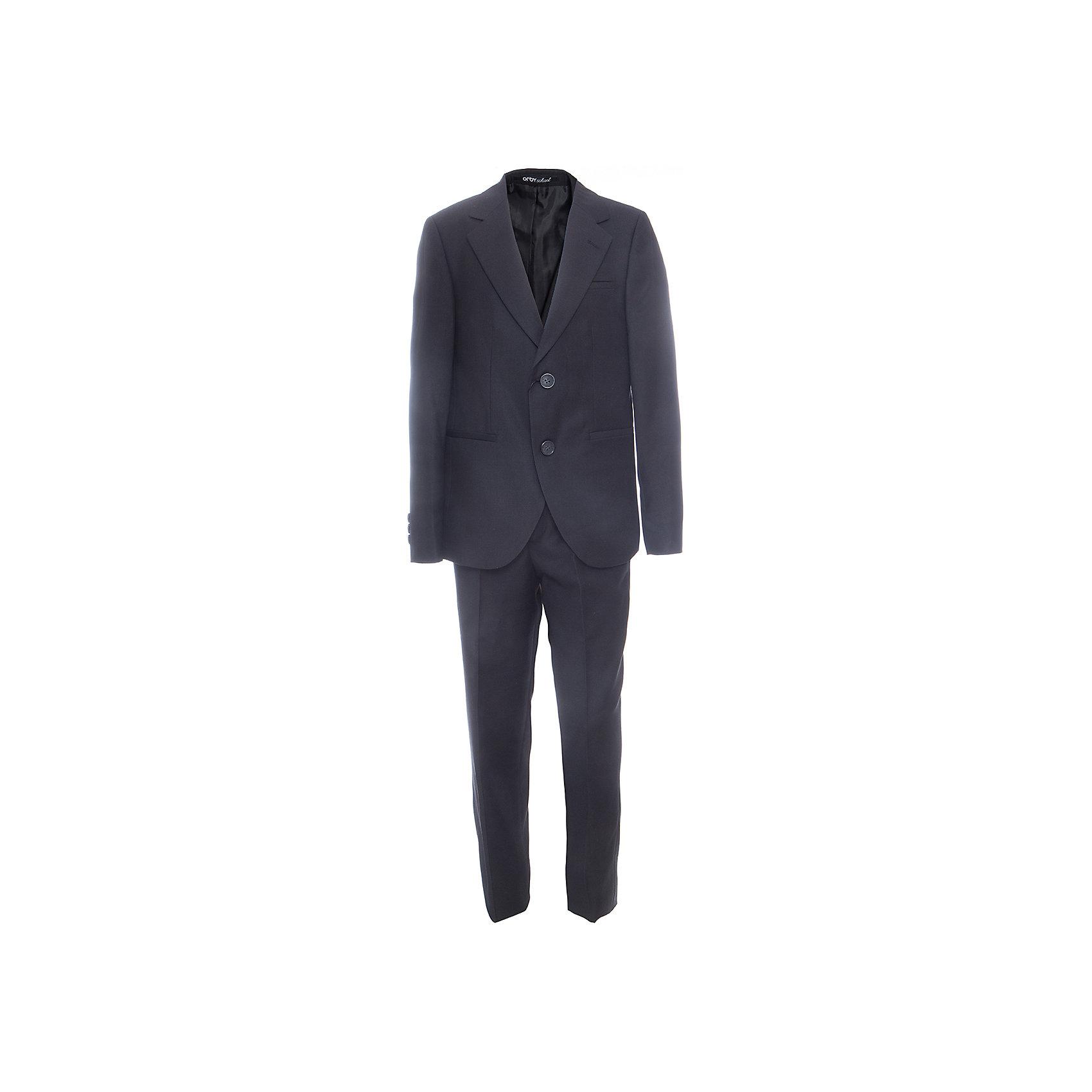 Комплект: пиджак и брюки для мальчика OrbyПиджаки и костюмы<br>Характеристики товара:<br><br>• цвет: черный<br>• состав ткани: 70 % ПЭ, 30% вискоза<br>• комплектация: пиджак, брюки<br>• особенности: школьная, праздничная<br>• застежка пиджака: пуговицы<br>• застежка брюк: молния<br>• регулируемая талия брюк<br>• шлевки для ремня<br>• сезон: круглый год<br>• страна бренда: Россия<br>• страна изготовитель: Россия<br><br>Черный костюм Orby классического кроя для мальчика - отличный вариант практичной и стильной школьной одежды. <br><br>Такой детский костюм-двойка обеспечивает красивый внешний вид и комфорт одновременно.<br><br>Комплект: пиджак и брюки для мальчика Orby (Орби) можно купить в нашем интернет-магазине.<br><br>Ширина мм: 215<br>Глубина мм: 88<br>Высота мм: 191<br>Вес г: 336<br>Цвет: черный<br>Возраст от месяцев: 156<br>Возраст до месяцев: 168<br>Пол: Мужской<br>Возраст: Детский<br>Размер: 164,122,128,134,140,146,152,158<br>SKU: 6960957