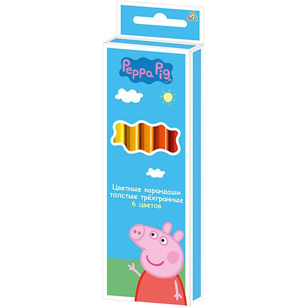 Цветные карандаши: толстые, 6 цветов, Свинка ПеппаСвинка Пеппа<br>Характеристики:<br><br>• возраст: от 3 лет<br>• в наборе: 6 разноцветных толстых карандашей<br>• трехгранный корпус<br>• материал корпуса: древесина<br>• длина карандаша: 17,5 см.<br>• толщина карандаша: 1 см.<br>• толщина грифеля; 0,4 см.<br>• упаковка: картонная коробка с европодвесом<br>• размер упаковки: 6х18х1 см.<br>• срок годности не ограничен<br><br>В набор «Свинка Пеппа» входит 6 толстых трёхгранных карандашей, предназначенных для самых маленьких художников. Трёхгранный корпус карандаша позволяет каждому пальчику расположиться на своей грани, что не даёт детской ручке уставать и вырабатывает у малыша привычку правильно держать пишущие принадлежности. <br><br>Благодаря такой форме, карандаши не скатываются со стола во время рисования. Яркие линии получаются без сильного нажима, поэтому карандаши идеально подходят для рисования, письма и раскрашивания. <br><br>Благодаря высококачественной древесине, они легко затачиваются обычной подходящей по размеру точилкой. Прочный грифель не крошится при падении и не ломается при заточке.<br><br>Цветные карандаши: толстые, 6 цветов, Свинка Пеппа можно купить в нашем интернет-магазине.<br>Ширина мм: 60; Глубина мм: 10; Высота мм: 180; Вес г: 72; Возраст от месяцев: 36; Возраст до месяцев: 2147483647; Пол: Унисекс; Возраст: Детский; SKU: 6963150;