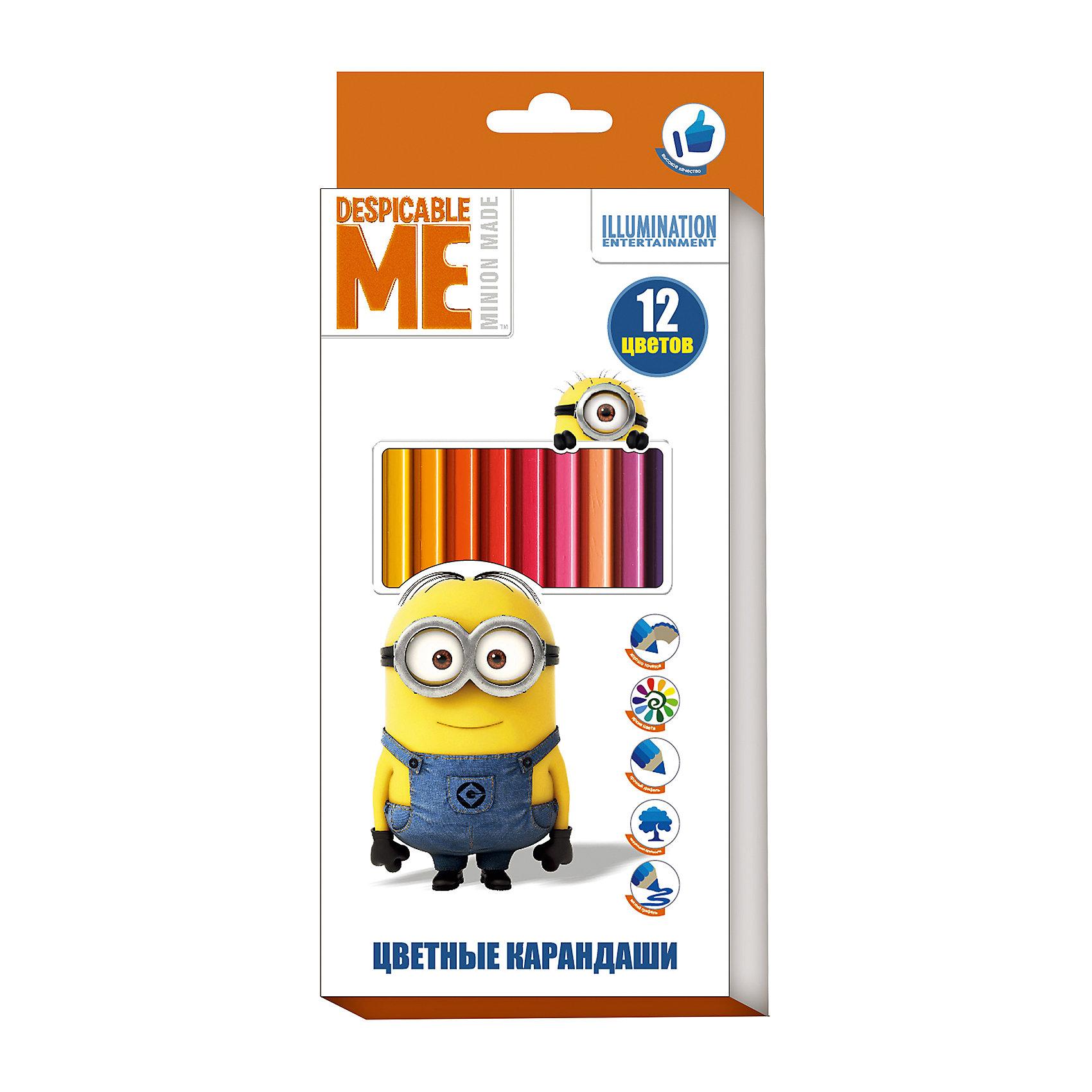 Цветные карандаши, 12 цветов, МиньоныМиньоны<br>Характеристики:<br><br>• возраст: от 3 лет<br>• в наборе: 12 разноцветных карандашей<br>• материал корпуса: древесина<br>• упаковка: картонная коробка с европодвесом<br>• размер упаковки: 9х20х0,8 см.<br>• срок годности не ограничен<br><br>Яркие карандаши «Миньоны» помогут маленькому художнику создавать красивые картинки, а любимые герои вдохновят малыша на новые интересные идеи. <br><br>В набор входит 12 цветных мягких и одновременно прочных карандашей, идеально подходящих для рисования, письма и раскрашивания. Яркие линии получаются без сильного нажима. Благодаря высококачественной древесине, карандаши легко затачиваются. Прочный грифель не крошится при падении и не ломается при заточке.<br><br>Цветные карандаши, 12 цветов, Миньоны можно купить в нашем интернет-магазине.<br><br>Ширина мм: 90<br>Глубина мм: 8<br>Высота мм: 202<br>Вес г: 83<br>Возраст от месяцев: 36<br>Возраст до месяцев: 2147483647<br>Пол: Унисекс<br>Возраст: Детский<br>SKU: 6963161