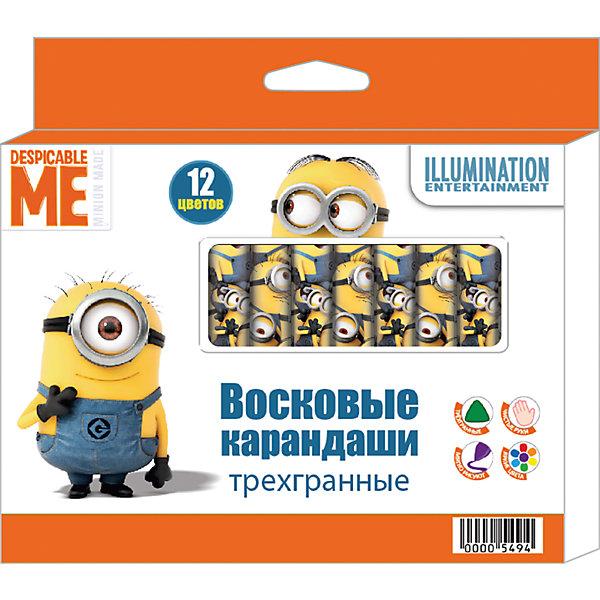 Восковые карандаши: трехгранные, 12 цветов, МиньоныМасляные и восковые мелки<br>Характеристики:<br><br>• возраст: от 3 лет<br>• в наборе: 12 разноцветных трехгранных восковых карандашей<br>• материал: воск, бумага<br>• диаметр карандаша: 1,2 см.<br>• длина: 8 см.<br>• упаковка: картонная коробка с европодвесом<br>• размер упаковки: 14,8х9,6х1,2 см.<br><br>В набор «Миньоны» входит 12 трехгранных восковых карандашей, которые благодаря своим ярким, насыщенным цветам идеально подходят для рисования, письма и раскрашивания. <br><br>Удобный трёхгранный корпус карандаша позволяет каждому пальчику расположиться на своей грани, что не даёт детской ручке уставать и вырабатывает у малыша привычку правильно держать пишущие принадлежности. Индивидуальные бумажные упаковки с ярким принтом на каждом карандаше помогают им не выскальзывать из ладошки ребенка, оставляя пальчики всегда чистыми. <br><br>Карандаши мягкие и одновременно прочные, что обеспечивает им яркость линий без сильного нажима и легкое затачивание. Товар сертифицирован и безопасен при использовании по назначению.<br><br>Восковые карандаши: трехгранные, 12 цветов, Миньоны можно купить в нашем интернет-магазине.<br><br>Ширина мм: 108<br>Глубина мм: 10<br>Высота мм: 132<br>Вес г: 98<br>Возраст от месяцев: 36<br>Возраст до месяцев: 2147483647<br>Пол: Унисекс<br>Возраст: Детский<br>SKU: 6963163