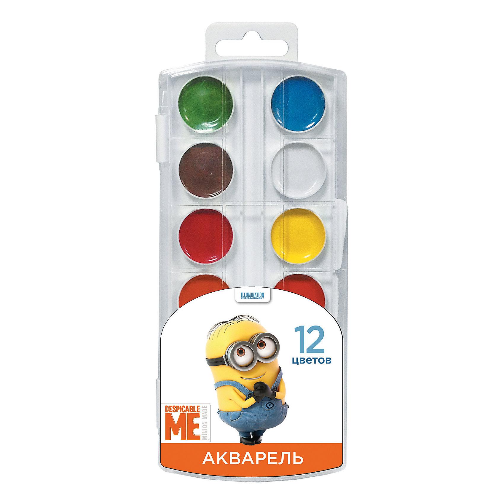 Акварель, 12 цветов, МиньоныАкварель<br>Характеристики:<br><br>• количество цветов: 12<br>• цвета: белый, желтый, оранжевый, красный, розовый, голубой, синий, светло-зеленый, темно-зеленый, светло-коричневый, коричневый, черный<br>• состав: вода питьевая, декстрин, глицерин, сахар, органические и неорганические тонкодисперсные пигменты, консервант, наполнитель<br>• упаковка: пластмассовый пенал с прозрачной крышкой<br>• размер упаковки: 8,5х19,7х1,2 см.<br>• вес: 70 гр.<br>• товар сертифицирован<br>• срок годности не ограничен<br><br>В наборе акварельных красок «Миньоны» 12 насыщенных цветов, которые помогут ребенку создать множество ярких картинок. Краски идеально подходят для рисования: они хорошо размываются водой, легко наносятся на поверхность, быстро сохнут, безопасны при использовании по назначению.<br><br>Акварель, 12 цветов, Миньоны можно купить в нашем интернет-магазине.<br><br>Ширина мм: 83<br>Глубина мм: 10<br>Высота мм: 195<br>Вес г: 70<br>Возраст от месяцев: 36<br>Возраст до месяцев: 2147483647<br>Пол: Унисекс<br>Возраст: Детский<br>SKU: 6963166