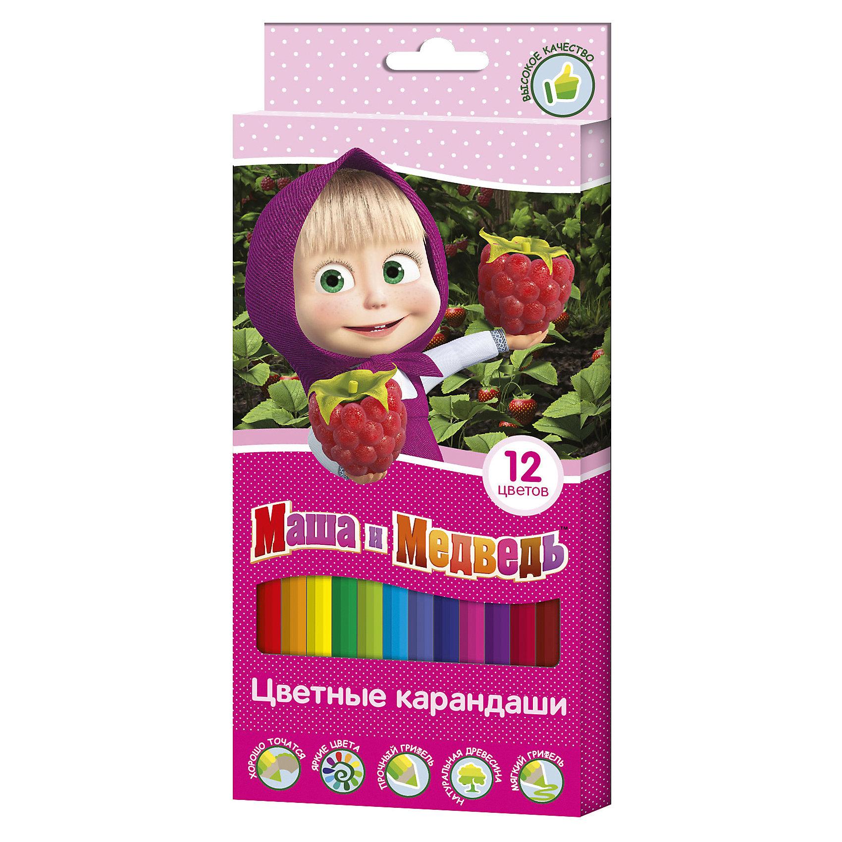 Цветные карандаши, 12 цветов, Маша и МедведьМаша и Медведь Товары для фанатов<br>Характеристики:<br><br>• возраст: от 3 лет<br>• в наборе: 12 разноцветных карандашей<br>• материал корпуса: древесина<br>• упаковка: картонная коробка с европодвесом<br>• размер упаковки: 9х20х0,8 см.<br>• срок годности не ограничен<br><br>Яркие карандаши «Маша и Медведь» помогут маленькой художнице создавать красивые картинки, а любимые герои вдохновят малышку на новые интересные идеи. <br><br>В набор входит 12 цветных мягких и одновременно прочных карандашей, идеально подходящих для рисования, письма и раскрашивания. Яркие линии получаются без сильного нажима. Благодаря высококачественной древесине, карандаши легко затачиваются. Прочный грифель не крошится при падении и не ломается при заточке.<br><br>Цветные карандаши, 12 цветов, Маша и Медведь можно купить в нашем интернет-магазине.<br><br>Ширина мм: 90<br>Глубина мм: 8<br>Высота мм: 202<br>Вес г: 83<br>Возраст от месяцев: 36<br>Возраст до месяцев: 2147483647<br>Пол: Женский<br>Возраст: Детский<br>SKU: 6963169