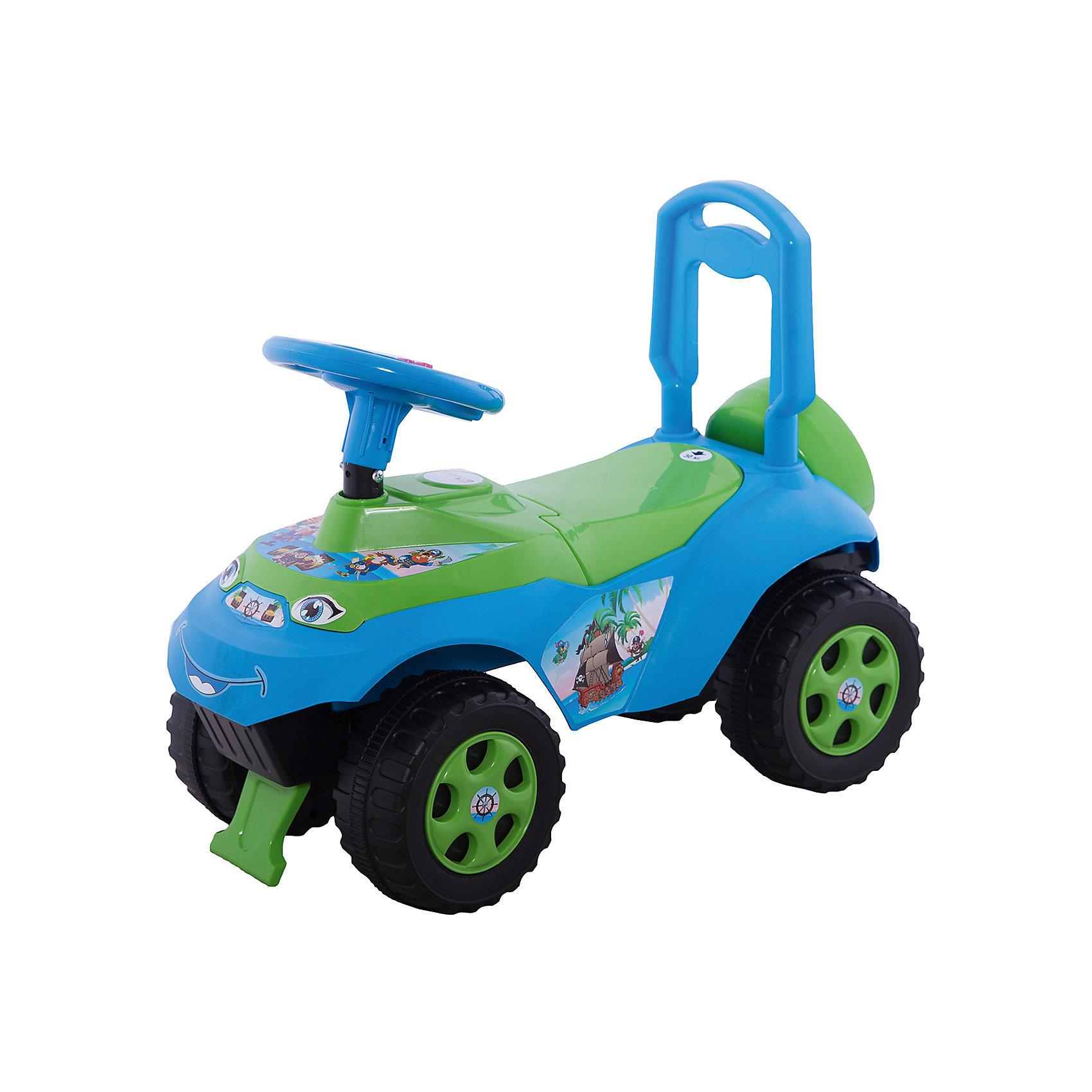 """Машинка-каталка Автошка"""" с музыкальным рулем, голубо-зеленая, DoloniМашинки-каталки<br>Характеристики товара:<br><br>• возраст: от 3 лет;<br>• максимальная нагрузка: 35 кг;<br>• материал: пластик;<br>• высота до сидения: 25 см;<br>• размер упаковки: 61х49х40 см;<br>• вес упаковки: 2,5 кг;<br>• страна производитель: Украина.<br><br>Каталка-толокар «Автошка» Doloni зелено-голубая позволит детям весело и активно провести время на прогулке. Сидя на ней, ребенок отталкивается ножками от земли и едет вперед, что способствует физическому развитию, учит держать равновесие. Кроме этого, на ней имеется ручка-толокар, держась за которую дети помладше могут учиться самостоятельно ходить.<br><br>Игрушка научит детей правилам дорожного движения. На руле расположены кнопки, при нажатии на которые, малыш услышит разнообразные фразы о правилах дорожного движения. Такие так «Красный цвет — стоим и ждем» и другие. Под сидением расположен отсек для вещей и игрушек. Блокиратор не позволит каталке опрокинуться, если ребенок наклонился вперед или назад. Каталка выполнена из качественного безопасного пластика. На ней отсутствуют острые углы, которые могут поранить ребенка.<br><br>Каталку-толокар «Автошка» Doloni зелено-голубую можно приобрести в нашем интернет-магазине.<br><br>Ширина мм: 610<br>Глубина мм: 300<br>Высота мм: 490<br>Вес г: 2500<br>Возраст от месяцев: 36<br>Возраст до месяцев: 2147483647<br>Пол: Унисекс<br>Возраст: Детский<br>SKU: 6963501"""