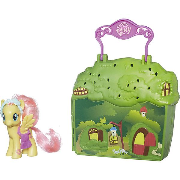 Мини-набор Коттедж Флаттершай, Fluttershy, My little PonyMy little Pony Игрушки<br>Характеристики товара:<br><br>• возраст: от 3 лет;<br>• материал: пластик;<br>• в комплекте: фигурка пони, домик, аксессуары;<br>• размер упаковки: 27,9х6,4х6,4 см;<br>• вес упаковки: 310 гр.;<br>• страна производитель: Китай.<br><br>Мини-набор «Коттедж Флаттершай» My Little Pony создан по мотивам известного мультсериала для девочек про веселых и озорных пони. В наборе можно встретить скромную и застенчивую Флаттершай с розовой мягкой гривой. Она живет в своем зеленом домике, в котором принимает друзей. <br><br>Домик выполнен в виде чемоданчика, в нем хранятся все аксессуары для игры, что позволит их не потерять. Чемоданчик оснащен ручкой, его можно брать с собой в гости или на прогулку. Игрушка выполнена из качественного безопасного пластика.<br><br>Мини-набор «Коттедж Флаттершай» My Little Pony можно приобрести в нашем интернет-магазине.<br><br>Ширина мм: 64<br>Глубина мм: 279<br>Высота мм: 64<br>Вес г: 310<br>Возраст от месяцев: 36<br>Возраст до месяцев: 120<br>Пол: Женский<br>Возраст: Детский<br>SKU: 6964488