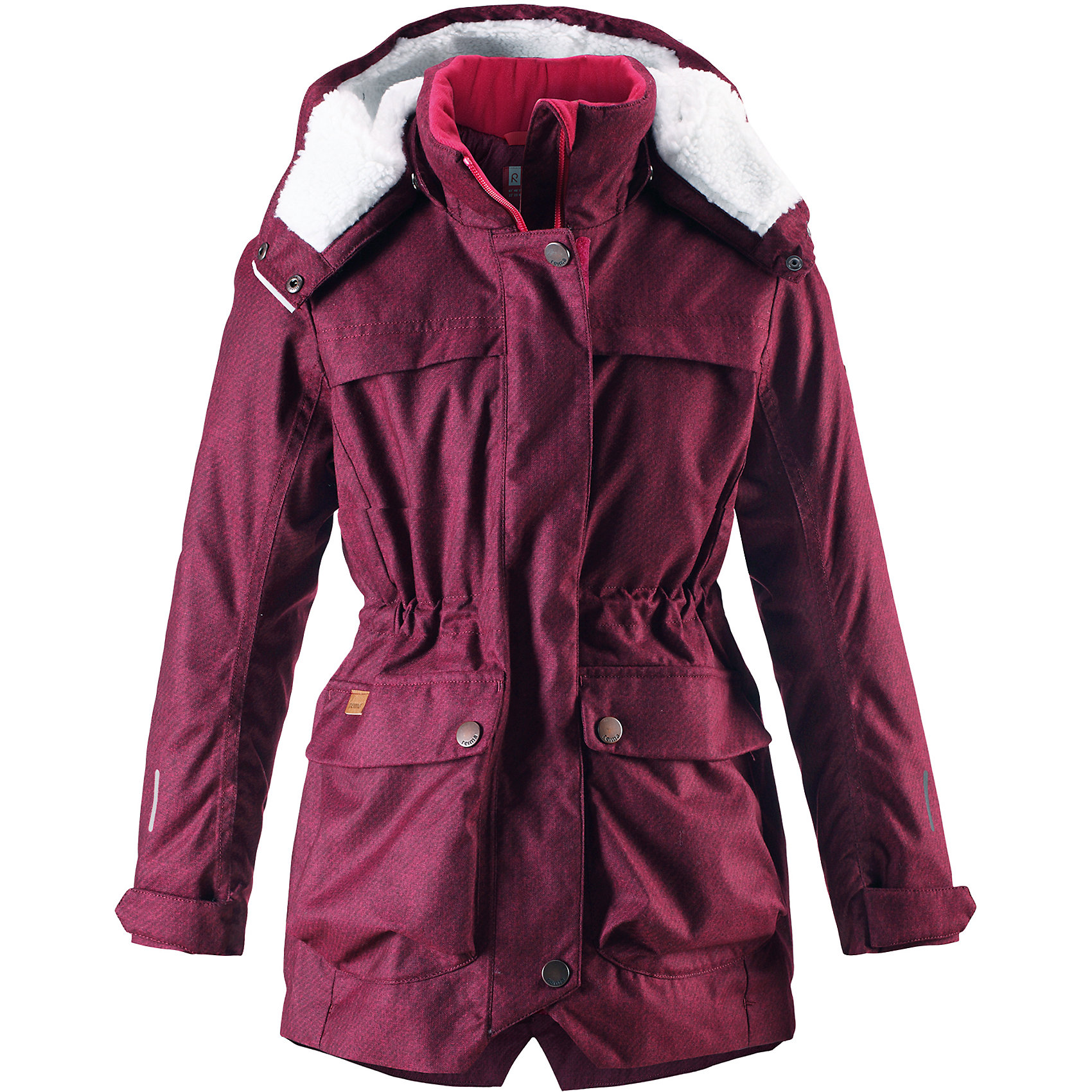 Куртка Pirkko Reima для девочкиОдежда<br>Теплая, водо- и ветронепроницаемая зимняя куртка Reimatec® для детей и подростков. Материал куртки не только водонепроницаемый, ветронепроницаемый и при этом дышащий, но также имеет водо- и грязеотталкивающую поверхность. Все основные швы проклеены, водонепроницаемы. Верхняя часть куртки и капюшон подбиты теплой стеганой подкладкой. <br><br>Куртка снабжена съемным капюшоном, что обеспечивает дополнительную безопасность во время активных прогулок – капюшон легко отстегивается, если случайно за что-нибудь зацепится. Образ довершают практичные детали: завязки на талии, два больших кармана с клапанами, длинная молния высокого качества и светоотражающие элементы.<br>Состав:<br>100% Полиэстер<br><br>Ширина мм: 356<br>Глубина мм: 10<br>Высота мм: 245<br>Вес г: 519<br>Цвет: розовый<br>Возраст от месяцев: 36<br>Возраст до месяцев: 48<br>Пол: Женский<br>Возраст: Детский<br>Размер: 104,164,158,152,146,140,134,128,122,116,110<br>SKU: 6968133