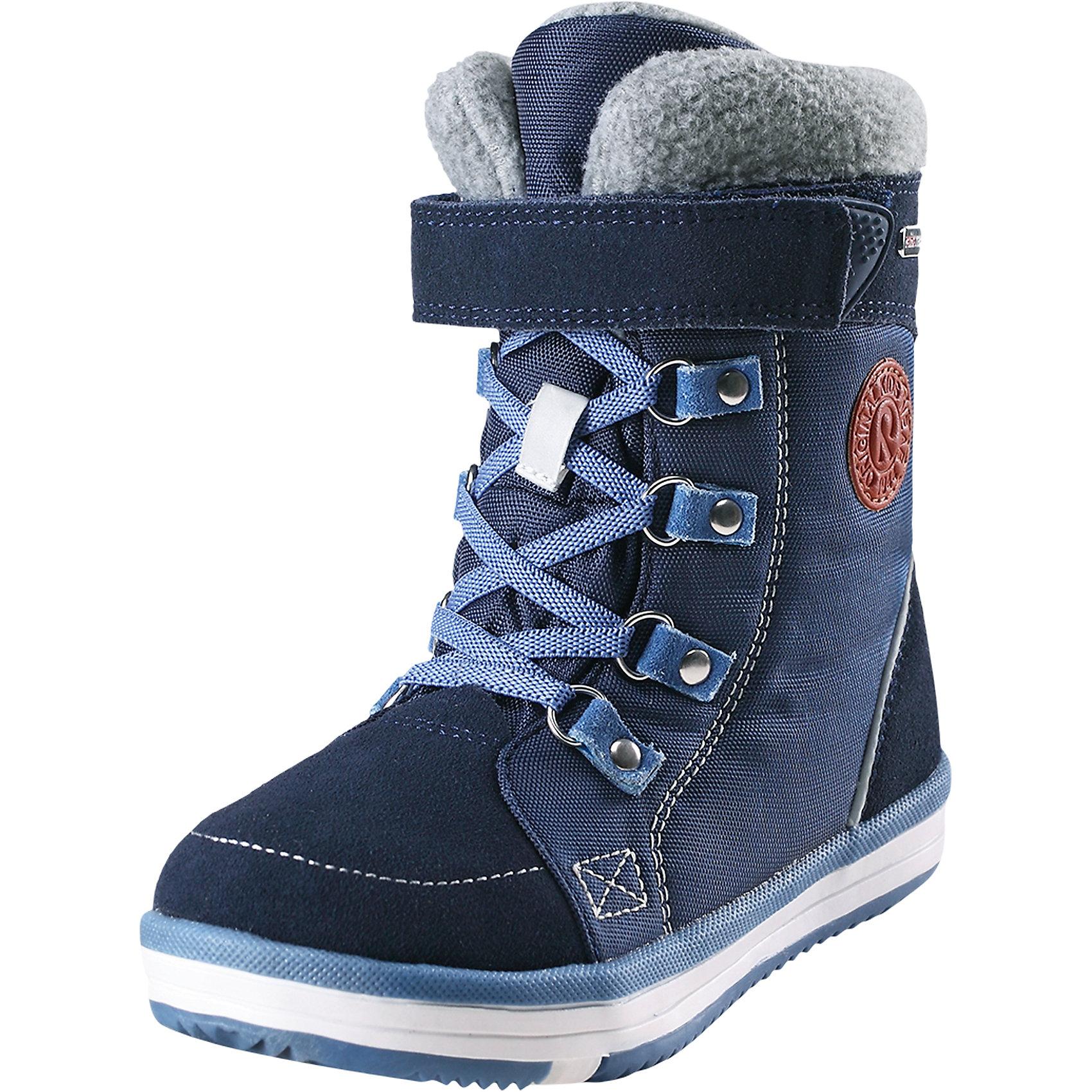 Ботинки Freddo Reimatec® ReimaОбувь<br>Абсолютно непромокаемые детские зимние ботинки. Верх изготовлен из очень красивой телячьей замши и текстиля, а подошва из термопластичной резины обеспечивает хорошее сцепление на любой поверхности. Рисунок Happy Fit на съемных войлочных стельках поможет подобрать нужный размер, а теплый войлок согреет ножки в морозную погоду. Для тех, кто уже знаком с Wetter – обратите внимание, что из-за теплой меховой подкладки размеры Freddo могут быть немного меньше, чем в ботинках Wetter. Благодаря эластичным шнуркам, их очень легко надевать, к тому же шнурки вместе с застежкой на липучке обеспечат плотную и удобную посадку на ноге. Отличный вариант как для прогулок по городу, так и для веселых игр в снегу.<br>Состав:<br>Подошва: Термопластичная резина Верх: Кожа/Полиэстер<br><br>Ширина мм: 262<br>Глубина мм: 176<br>Высота мм: 97<br>Вес г: 427<br>Цвет: синий<br>Возраст от месяцев: 132<br>Возраст до месяцев: 144<br>Пол: Унисекс<br>Возраст: Детский<br>Размер: 38,28,29,30,31,32,33,34,35,36,37<br>SKU: 6968215