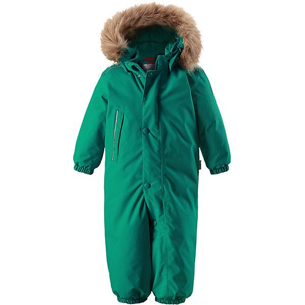 Комбинезон Reimatec® Reima Gotland для мальчикаОдежда<br>Характеристики товара:<br><br>• цвет: зеленый; <br>• состав: 100% полиэстер<br>• утеплитель: 100% полиэстер, 160 г/м2 (soft loft insulation)<br>• сезон: зима<br>• температурный режим: от 0 до -20С<br>• водонепроницаемость: 15000 мм<br>• воздухопроницаемость: 7000 мм<br>• износостойкость: 40000 циклов (тест Мартиндейла)<br>• особенности модели: однотонный, с мехом<br>• основные швы проклеены и не пропускают влагу<br>• водо- и ветронепроницаемый, дышащий и грязеотталкивающий материал<br>• утепленная задняя часть изделия<br>• гладкая подкладка из полиэстера<br>• безопасный, съемный капюшон на кнопках<br>• съемный искусственный мех на капюшоне<br>• защита подбородка от защемления<br>• эластичные манжеты и штанины<br>• эластичная талия<br>• съемные эластичные штрипки <br>• длинная молния для легкого надевания<br>• дополнительная планка на кнопках<br>• карман на молнии<br>• светоотражающие детали<br>• система кнопок Play Layers®<br>• страна бренда: Финляндия<br>• страна изготовитель: Китай<br><br>Классический зимний комбинезон на молнии для малышей очень прост в уходе и идеально подходит для всех зимних забав. Этот непромокаемый зимний комбинезон изготовлен из дышащего и ветронепроницаемого, а также водо и грязеотталкивающего материала.<br><br>Все швы проклеены, водонепроницаемы, а еще комбинезон снабжен утепленной вставкой на задней части, благодаря которой ребенку будет тепло и сухо во время зимних приключений. <br><br>Обратите внимание, что с помощью удобной системы кнопок Play Layers® к комбинезону можно присоединять разнообразную одежду промежуточного слоя Reima®. Съемный регулируемый капюшон обеспечивает дополнительную безопасность во время игр на свежем воздухе.<br><br><br><br>Комбинезон Gotland Reimatec® Reima от финского бренда Reima (Рейма) можно купить в нашем интернет-магазине.<br><br>Ширина мм: 356<br>Глубина мм: 10<br>Высота мм: 245<br>Вес г: 519<br>Цвет: зеленый<br>Возраст от месяцев: 12<br>Возраст до