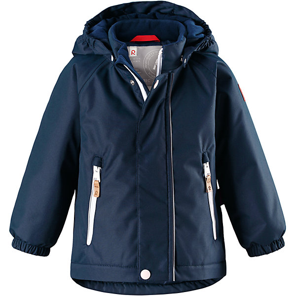 Куртка Reimatec® Reima RuisОдежда<br>Характеристики товара:<br><br>• цвет: синий;<br>• состав: 100% полиэстер;<br>• подкладка: 100% полиэстер;<br>• утеплитель: 160 г/м2;<br>• сезон: демисезон, зима;<br>• температурный режим: от 0 до -20С;<br>• водонепроницаемость: 8000 мм;<br>• воздухопроницаемость: 10000 мм;<br>• износостойкость: 30000 циклов (тест Мартиндейла);<br>• водо- и ветронепроницаемый, дышащий и грязеотталкивающий материал;<br>• основные швы проклеены и водонепроницаемы;<br>• застежка: молния с защитой подбородка;<br>• гладкая подкладка из полиэстера;<br>• безопасный, съемный капюшон;<br>• эластичные манжеты;<br>• два кармана на молнии;<br>• светоотражающие детали;<br>• страна бренда: Финляндия;<br>• страна изготовитель: Китай.<br><br>Основные швы в куртке проклеены, а сама она изготовлена из водо и ветронепроницаемого, грязеотталкивающего материала. Гладкая подкладка и молния во всю длину облегчают надевание. Съемный капюшон защищает от ветра, к тому же он абсолютно безопасен – легко отстегнется, если вдруг за что-нибудь зацепится. Маленькие карманы на молнии надежно сохранят все сокровища.<br><br>Куртку Reimatec® Reima Ruis от финского бренда Reima (Рейма) можно купить в нашем интернет-магазине.<br><br>Ширина мм: 356<br>Глубина мм: 10<br>Высота мм: 245<br>Вес г: 519<br>Цвет: синий<br>Возраст от месяцев: 12<br>Возраст до месяцев: 15<br>Пол: Унисекс<br>Возраст: Детский<br>Размер: 80,98,92,86<br>SKU: 6968437