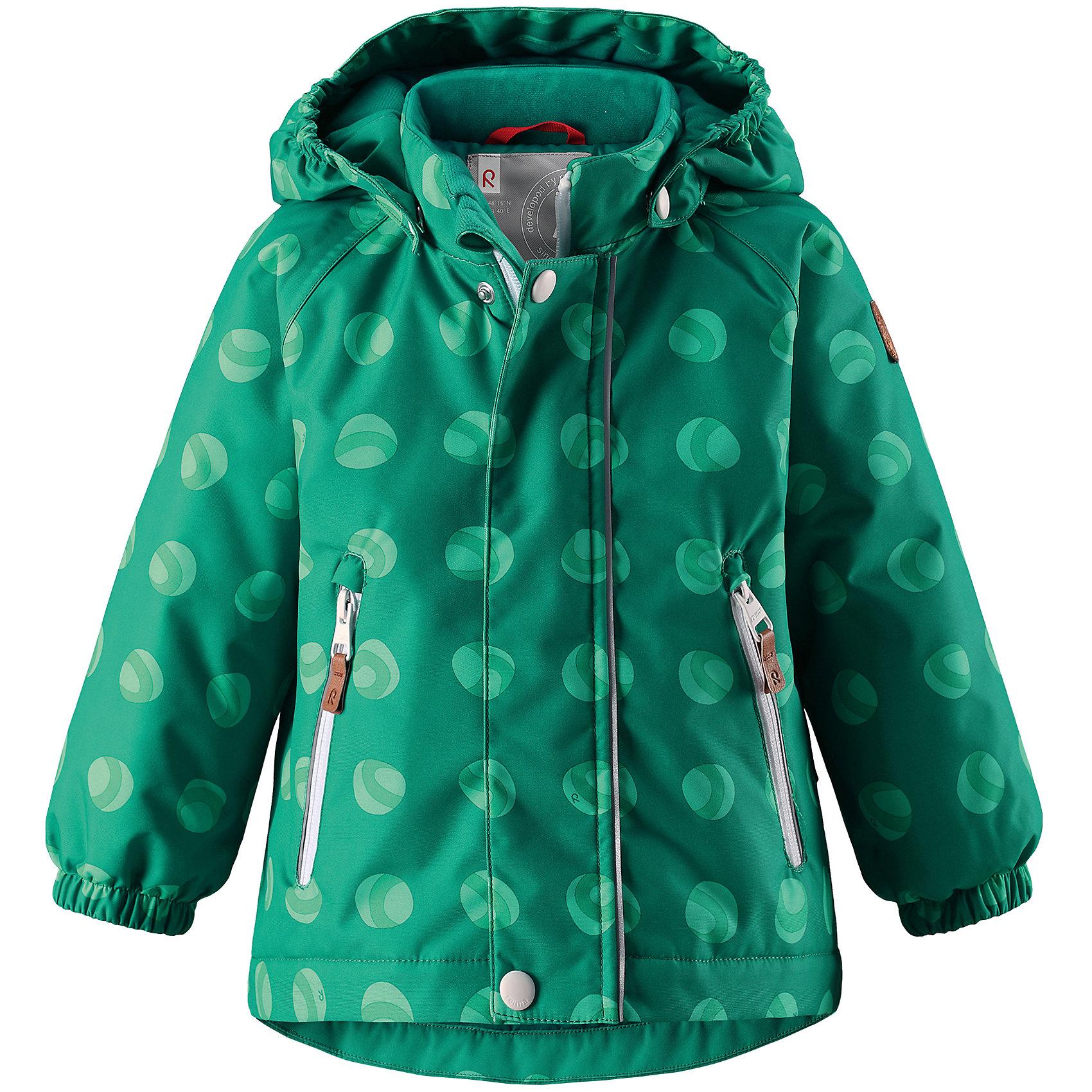 Куртка Reimatec® Reima RuisВерхняя одежда<br>Характеристики товара:<br><br>• цвет: зеленый;<br>• состав: 100% полиэстер;<br>• подкладка: 100% полиэстер;<br>• утеплитель: 160 г/м2;<br>• сезон: демисезон, зима;<br>• температурный режим: от 0 до -20С;<br>• водонепроницаемость: 8000 мм;<br>• воздухопроницаемость: 10000 мм;<br>• износостойкость: 30000 циклов (тест Мартиндейла);<br>• водо- и ветронепроницаемый, дышащий и грязеотталкивающий материал;<br>• основные швы проклеены и водонепроницаемы;<br>• застежка: молния с защитой подбородка;<br>• гладкая подкладка из полиэстера;<br>• безопасный, съемный капюшон;<br>• эластичные манжеты;<br>• два кармана на молнии;<br>• светоотражающие детали;<br>• страна бренда: Финляндия;<br>• страна изготовитель: Китай.<br><br>Основные швы в куртке проклеены, а сама она изготовлена из водо и ветронепроницаемого, грязеотталкивающего материала. Гладкая подкладка и молния во всю длину облегчают надевание. Съемный капюшон защищает от ветра, к тому же он абсолютно безопасен – легко отстегнется, если вдруг за что-нибудь зацепится. Маленькие карманы на молнии надежно сохранят все сокровища.<br><br>Куртку Reimatec® Reima Ruis от финского бренда Reima (Рейма) можно купить в нашем интернет-магазине.<br><br>Ширина мм: 356<br>Глубина мм: 10<br>Высота мм: 245<br>Вес г: 519<br>Цвет: зеленый<br>Возраст от месяцев: 24<br>Возраст до месяцев: 36<br>Пол: Унисекс<br>Возраст: Детский<br>Размер: 98,92,80,86<br>SKU: 6968447