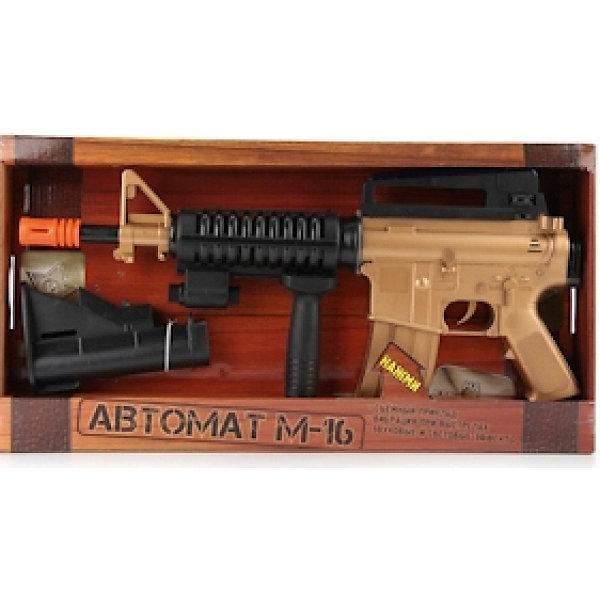 Автомат М-16 со светом и звуком, Играем вместеИгрушечные пистолеты и бластеры<br>Характеристики товара:<br><br>• световые и звуковые эффекты;<br>• материал: пластик;<br>• батарейки: АА - 3 шт. (не входят в комплект);<br>• размер упаковки: 25х7х50 см;<br>• вес: 890 грамм;<br>• возраст: от 3 лет.<br><br>Автомат от компании «Играем вместе» - реалистичная копия штурмовой винтовки М-16. Игрушка дополнена звуковым модулем и лампочками разных цветов. При нажатии на курок автомат издает реалистичные звуки стрельбы, а лампочки начинают мигать, радуя маленького солдата. Приклад М-16 снимается. Игрушка изготовлена из высококачественного пластика без содержания токсичных веществ. Не имеет острых углов.<br><br>Автомат М-16 со светом и звуком, Играем вместе можно купить в нашем интернет-магазине.<br>Ширина мм: 50; Глубина мм: 7; Высота мм: 25; Вес г: 890; Возраст от месяцев: 36; Возраст до месяцев: 60; Пол: Мужской; Возраст: Детский; SKU: 6970770;