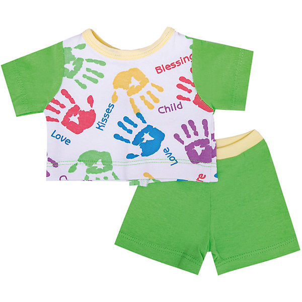 Комплект одежды для куклы, 40-42 см, КарапузОдежда для кукол<br>Характеристики товара:<br><br>• подходит для кукол высотой 40-42 см;<br>• в комплекте: шорты, футболка;<br>• материал: текстиль;<br>• размер упаковки: 37х3х18 см;<br>• вес: 50 грамм;<br>• возраст: от 3 лет.<br><br>Комплект одежды Карапуз предназначен для кукол высотой 40-42 сантиметра. В набор входят шорты и футболка, выполненные в светло-зеленом цвете. Передняя часть футболки дополнена принтом, изображающим разноцветные отпечатки ладошек. <br><br>Одежда изготовлена из качественного материала, приятного на ощупь. С такой одеждой девочка сможет нарядить любимую куклу для прогулки или веселых игр.<br><br>Комплект одежды для куклы, 40-42 см, Карапуз можно купить в нашем интернет-магазине.<br>Ширина мм: 28; Глубина мм: 3; Высота мм: 37; Вес г: 50; Возраст от месяцев: 36; Возраст до месяцев: 60; Пол: Женский; Возраст: Детский; SKU: 6970771;