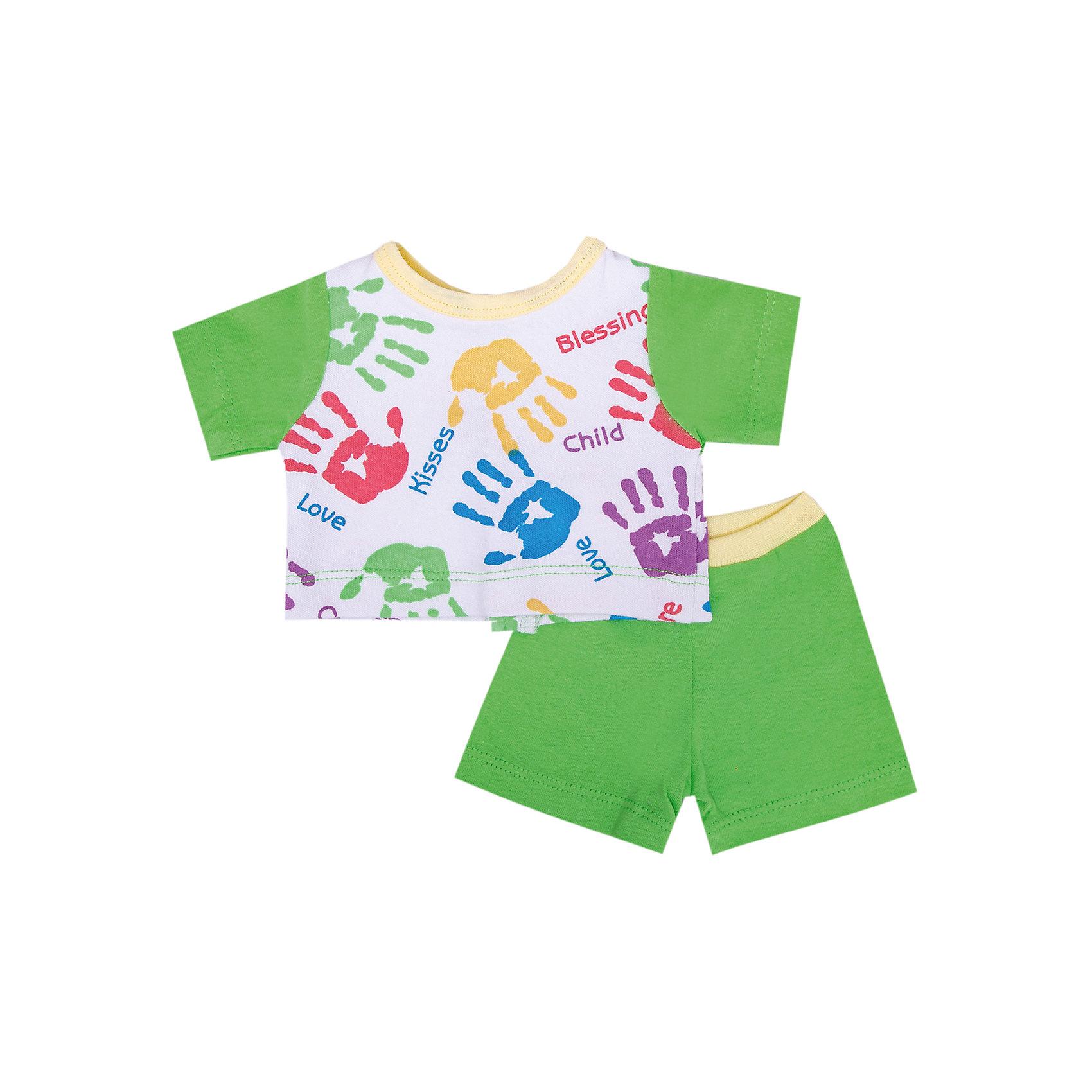 Комплект одежды для куклы, 40-42 см, КарапузКукольная одежда и аксессуары<br>Характеристики товара:<br><br>• подходит для кукол высотой 40-42 см;<br>• в комплекте: шорты, футболка;<br>• материал: текстиль;<br>• размер упаковки: 37х3х18 см;<br>• вес: 50 грамм;<br>• возраст: от 3 лет.<br><br>Комплект одежды Карапуз предназначен для кукол высотой 40-42 сантиметра. В набор входят шорты и футболка, выполненные в светло-зеленом цвете. Передняя часть футболки дополнена принтом, изображающим разноцветные отпечатки ладошек. <br><br>Одежда изготовлена из качественного материала, приятного на ощупь. С такой одеждой девочка сможет нарядить любимую куклу для прогулки или веселых игр.<br><br>Комплект одежды для куклы, 40-42 см, Карапуз можно купить в нашем интернет-магазине.<br><br>Ширина мм: 28<br>Глубина мм: 3<br>Высота мм: 37<br>Вес г: 50<br>Возраст от месяцев: 36<br>Возраст до месяцев: 60<br>Пол: Женский<br>Возраст: Детский<br>SKU: 6970771