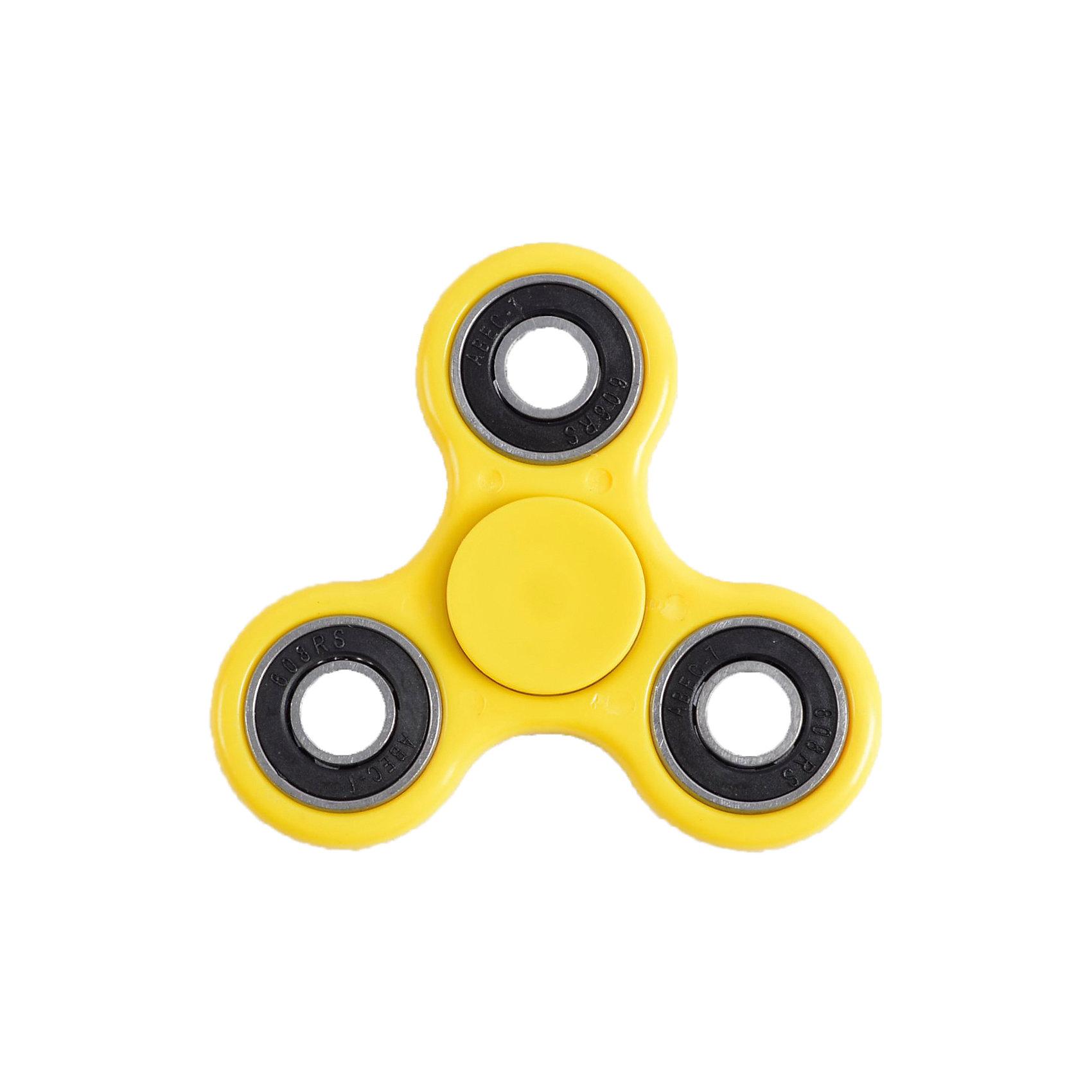 Спиннер для рук, желтый, металлический подшипник, Fidget SpinnerИгрушки-антистресс<br>Характеристики товара:<br><br>• цвет: желтый;<br>• материал: пластик, металл;<br>• размер упаковки: 7х7х7 см;<br>• вес: 50 грамм;<br>• возраст: от  3лет.<br><br>Спиннер Fidget Spinner состоит из металлического подшипника и трех лопастей желтого цвета. Чтобы игрушка начала крутиться, достаточно запустить спиннер, удерживая центральный подшипник. Движения спиннера равномерные, плавные и практически бесшумные.  После запуска спиннер крутится в течение нескольких минут. При желании можно придумать или повторить различные трюки с использованием спиннера.<br><br>Игра со спиннером поможет расслабиться, успокоиться, а также развить моторику рук. Игрушка имеет небольшой размер, поэтому ее удобно брать с собой и крутить в любой удобной ситуации. <br><br>Спиннер для рук, желтый, металлический подшипник, Fidget Spinner (Фиджет Спиннер) можно купить в нашем интернет-магазине.<br><br>Ширина мм: 70<br>Глубина мм: 70<br>Высота мм: 70<br>Вес г: 50<br>Возраст от месяцев: 36<br>Возраст до месяцев: 2147483647<br>Пол: Унисекс<br>Возраст: Детский<br>SKU: 6970793