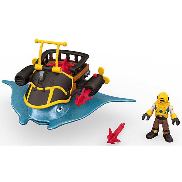 Набор Капитан Немо и скат Captain Nemo &amp; Stingray, Fisher Price, ImaginextФигурки из мультфильмов<br>Характеристики товара:<br><br>• возраст: от 3 лет;<br>• материал: пластик;<br>• в комплекте: фигурка, аксессуары;<br>• размер упаковки: 21,5х10х19 см;<br>• вес упаковки: 464 гр.;<br>• страна производитель: Китай.<br><br>Игровой набор «Капитан Немо и скат Captain Nemo &amp; Stingray» Imaginext Fisher Price позволит детям устроить невероятные интересные игры про пиратов. Капитан одет в костюм аквалангиста, у фигурки подвижные руки и ноги. Его корабль выполнен в виде огромного ската. По бокам расположены 2 установки, стреляющие снарядами. Игрушка выполнена из качественного безопасного пластика.<br><br>Игровой набор «Капитан Немо и скат Captain Nemo &amp; Stingray» Imaginext Fisher Price можно приобрести в нашем интернет-магазине.<br><br>Ширина мм: 215<br>Глубина мм: 100<br>Высота мм: 190<br>Вес г: 464<br>Возраст от месяцев: 36<br>Возраст до месяцев: 96<br>Пол: Мужской<br>Возраст: Детский<br>SKU: 6976852