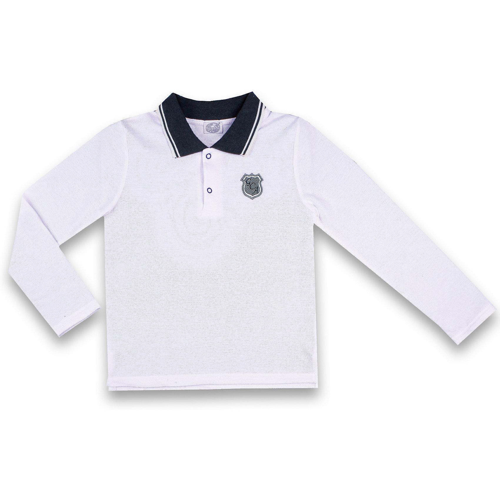Рубашка-поло Апрель для мальчикаФутболки с длинным рукавом<br>Характеристики товара:<br><br>• цвет: белый;<br>• состав: 100% хлопок;<br>• сезон: демисезон;<br>• застежка: пуговицы на воротнике;<br>• аппликация на груди;<br>• с длинным рукавом;<br>• особенности: школьная;<br>• страна бренда: Россия;<br>• страна производства: Россия.<br><br>Школьная рубашка-поло для мальчика. Рубашка-поло белого цвета, застегивается на пуговицы. Воротничок контрастного синего цвета.<br><br>Рубашку-поло для мальчика Апрель можно купить в нашем интернет-магазине.<br><br>Ширина мм: 190<br>Глубина мм: 74<br>Высота мм: 229<br>Вес г: 236<br>Цвет: белый<br>Возраст от месяцев: 96<br>Возраст до месяцев: 108<br>Пол: Мужской<br>Возраст: Детский<br>Размер: 134,122,128<br>SKU: 6981042