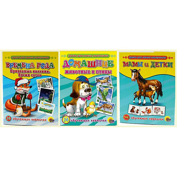Комплект из 3 наборов карточек  Мамы и детки, Домашние животные и птицы, Времена годаОбучающие карточки<br>Обучающие карточки серии «Уроки для самых маленьких» помогут ребёнку узнать много интересного об окружающем мире, его богатстве и многообразии. Каждый набор включает 16 карточек и посвящён определённой тематике. Благодаря данному набору ребёнок в познавательной и в то же время игровой форме узнает, как безопасно вести себя дома и на улице, как правильно поступать в той или иной ситуации, а также познакомится с телефонными номерами экстренных служб. Работа с карточками станет для малыша не только увлекательным занятием, но и начальным этапом подготовки к дальнейшему обучению в школе.<br>Ширина мм: 170; Глубина мм: 220; Высота мм: 18; Вес г: 491; Возраст от месяцев: 12; Возраст до месяцев: 36; Пол: Унисекс; Возраст: Детский; SKU: 6990122;