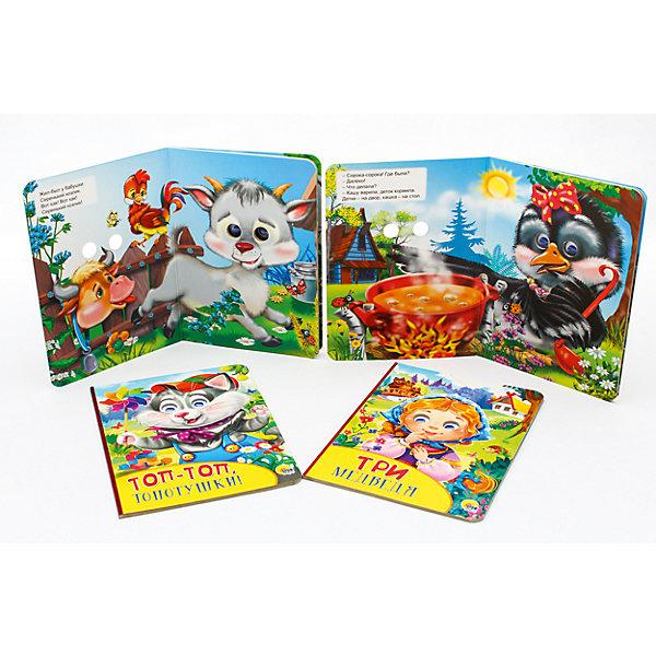 Комплект иллюстрированных сказок для малышейСказки<br>Красочно иллюстрированные сказки для малышей Серенький козлик, Сорока-белобока, Топ-топ, топотушки, Три медведя. Книжка-вырубка с подвижными пластиковыми глазками. Картонные страницы. Для чтения родителями детям<br><br>Ширина мм: 160<br>Глубина мм: 220<br>Высота мм: 24<br>Вес г: 448<br>Возраст от месяцев: 0<br>Возраст до месяцев: 36<br>Пол: Женский<br>Возраст: Детский<br>SKU: 6990138
