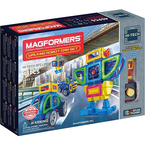 Магнитный конструктор Walking Robot Car Set 45, MAGFORMERSМагнитные конструкторы<br>Характеристики:<br><br>• возраст: от 3 лет;<br>• материал: пластмасса, металл;<br>• в наборе: 45 деталей: 6 треугольников, 14 квадратов, суперпрямоугольник, 5 мини-прямоугольников, 2 ромба, 2 трапеции, 4 сектора, 2 арки, клик-колеса, два больших колеса, распределительный модуль тип I, моторный блок, пульт-браслет, блок для передвижения, прямоугольный коннектор тип II;<br>• заряжается от USB;<br>• время работы заряженного устройства: 2 ч.;<br>• вес упаковки: 1,56 кг.;<br>• размер упаковки: 44х8,5х32 см.<br><br>Оригинальный магнитный конструктор Mini Tank Magformers сделан из прочного пластика. Уникальность игры заключается в особом строении деталей с магнитами, из которых можно собирать неограниченное количество разных конструкций.<br><br>Как только детали соприкасаются, магниты внутри поворачиваются нужным полюсом друг к другу, надежно скрепляясь между собой. Сборка происходит легко и быстро. Детали сами становятся на нужное место, при этом без труда разбираются для новых игр.<br><br>Предусмотрена книга идей для сборки разных роботов, включая трансформеров. Всех их объединяет возможность использовать моторный и передвижной блоки, благодаря которым роботы начинают свое путешествие. Кроме того, ребенок сам сможет придумать новые идеи для строительства.<br><br>Все части конструктора соединяются с любыми другими наборами Magformers, что делает игру еще разнообразней и увлекательней. <br><br>Занятия с магнитным конструктором развивают творческие способности, пространственное мышление и мелкую моторику, а также знакомят с геометрическими фигурами и цветами. Конструктор выполнен из сертифицированных безопасных материалов.<br><br>Магнитный конструктор Walking Robot Car Set 45, Magformers можно купить в нашем интернет-магазине.<br>Ширина мм: 440; Глубина мм: 320; Высота мм: 90; Вес г: 1825; Возраст от месяцев: 36; Возраст до месяцев: 2147483647; Пол: Унисекс; Возраст: Детский; SKU: 6992491;