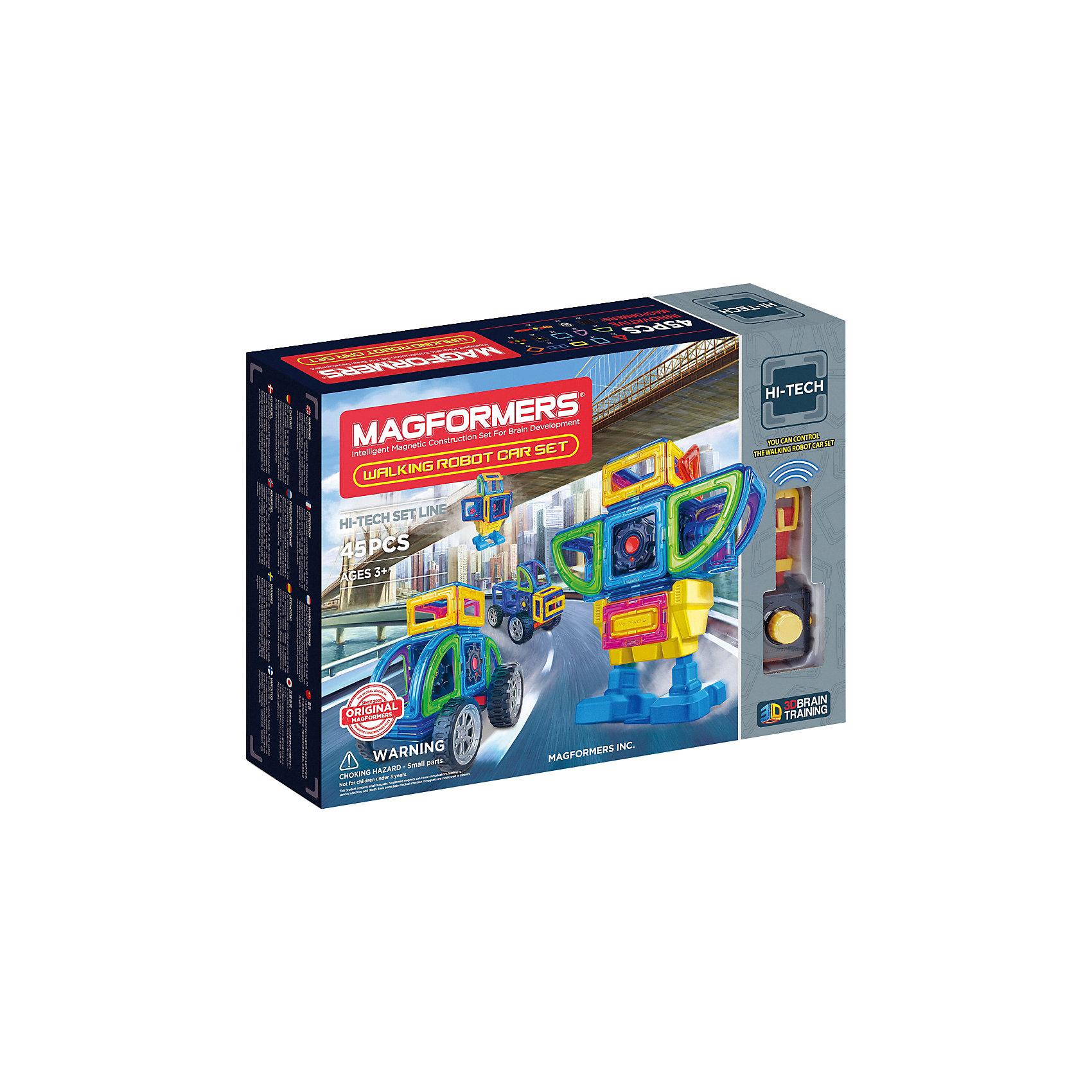 Магнитный конструктор Walking Robot Car Set 45, MAGFORMERSМагнитные конструкторы<br><br><br>Ширина мм: 440<br>Глубина мм: 320<br>Высота мм: 90<br>Вес г: 1825<br>Возраст от месяцев: 36<br>Возраст до месяцев: 2147483647<br>Пол: Унисекс<br>Возраст: Детский<br>SKU: 6992491