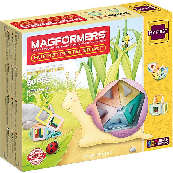 Магнитный конструктор My First Pastel Set 30, MAGFORMERSМагнитные конструкторы<br>Характеристики:<br><br>• возраст: от 3 лет;<br>• материал: пластмасса, металл;<br>• в наборе: 30 деталей: 12 треугольников, 18 квадратов;<br>• вес упаковки: 710 гр.;<br>• размер упаковки: 22х21х5 см.<br><br>Оригинальный магнитный конструктор My First Pastel Set 30 Magformers состоит из квадратов и треугольников, сделанных из прочного пластика. Уникальность игры заключается в особом строении деталей с магнитами, из которых можно собирать неограниченное количество разных сооружений.<br><br>Как только детали соприкасаются, магниты внутри поворачиваются нужным полюсом друг к другу, надежно скрепляясь между собой. Сборка происходит легко и быстро. Детали сами становятся на нужное место, при этом без труда разбираются для новых игр.<br><br>Ребенок сможет создать необычные плоские или объемные фигуры, своеобразные копии предметов из реальной жизни или совершенно новые предметы – ограничивает только фантазия. Начать поможет книга идей из набора.<br><br>Все части конструктора соединяются с любыми другими наборами Magformers, что делает игру еще разнообразней и увлекательней. <br><br>Занятия с магнитным конструктором развивают творческие способности, пространственное мышление и мелкую моторику, а также знакомят с геометрическими фигурами и цветами. Конструктор выполнен из сертифицированных безопасных материалов.<br><br>Магнитный конструктор My First Pastel Set 30, Magformers можно купить в нашем интернет-магазине.<br>Ширина мм: 280; Глубина мм: 240; Высота мм: 70; Вес г: 833; Возраст от месяцев: 180; Возраст до месяцев: 2147483647; Пол: Унисекс; Возраст: Детский; SKU: 6992495;