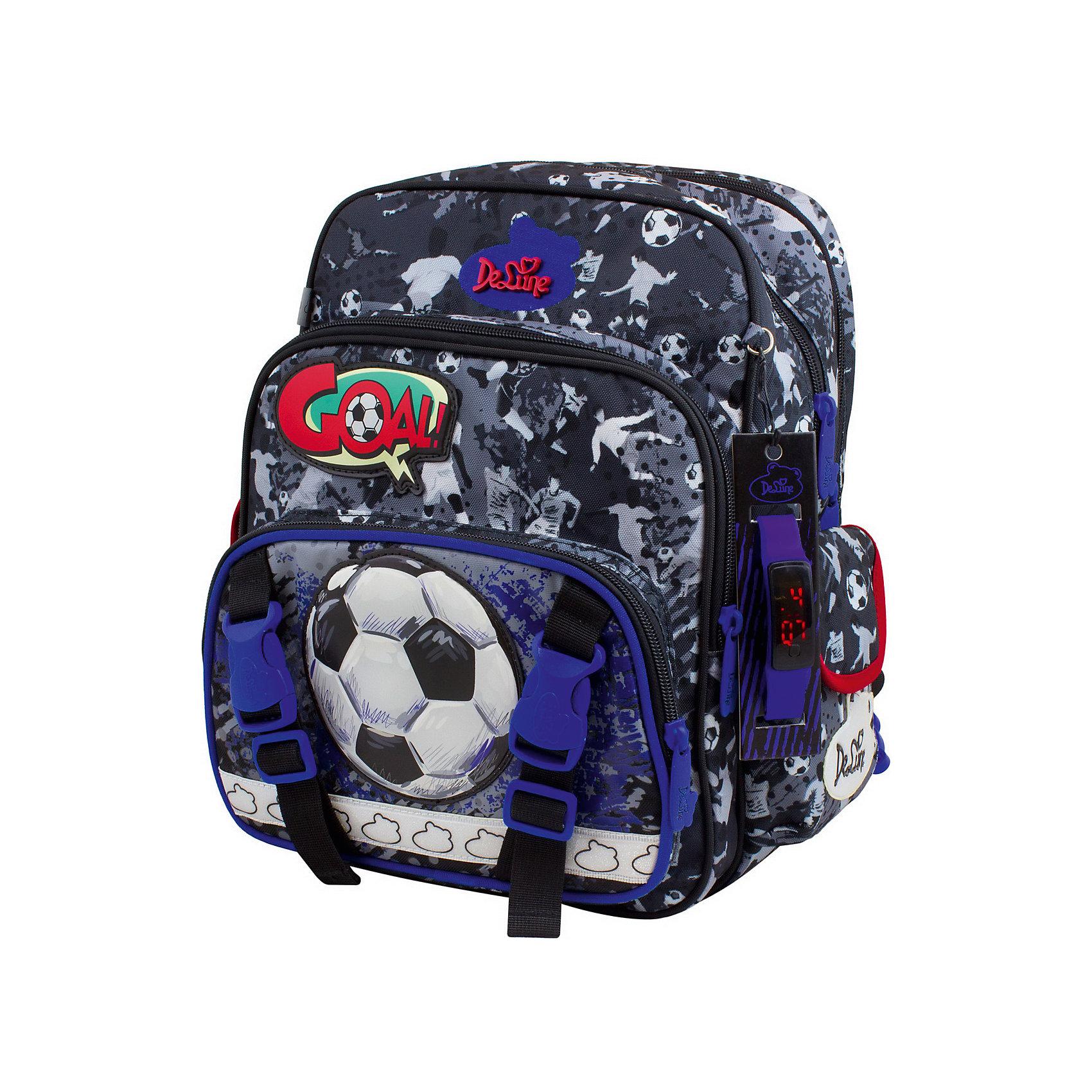 Рюкзак DeLune 55-13 анатомическая спинкаРанцы<br>Характеристики:<br><br>• цвет: серый;<br>• возраст от: 6 лет;<br>• начальная школа<br>• материал: полиэстер;<br>• размер: 27х16х32,5 см.;<br>• вес: 930 гр;<br>• объем: 16 л.;<br>• принт:футбольный мяч;<br>• тип застежки: молния;<br>• количество отделений: 2;<br>• количество карманов: 4;<br>• дно: твердое, с пластиковыми ножками;<br>• спинка: анатомическая;<br>• наполнение: электронные часы на силиконовом ремешке;<br>• бренд, страна бренда: De Lune, Франция;<br>• страна производитель: Китай.<br><br>Школьный рюкзак DeLune (Де Луне) 55-13  имеет мягко-каркасную форму,благодаря чему каркас  держит форму даже при пустом рюкзаке,а также не меняет форму под весом. Эргономичная спинка имеет твердый каркас, позвоночник защищен специально сконструированной спинкой по типу «СЭНДВИЧ», но при этом спинка мягкая снаружи, что обеспечивает комфортное ношение и защиту спины ребенка. <br><br>Для безопасности ребенка в темное время суток на рюкзаке имеются светоотражающие элементы, расположенные на передней, задней и боковой части ранца. Изделие выполнено из качественных материалов, что обеспечивает долгосрочное использование, а яркий дизайн, интересные детали, аппликации, вышивки обязательно привлекут внимание вашего ребенка.<br><br>Особенности: <br>• три отделения;<br>• два пластиковых разделителя с карманом из сетки;<br>• сеточный карман на резинке;<br>• два кармана на молнии на фронтальной части;<br>• боковые карманы на застежке-липучке;<br>• качественная фурнитура фирмы «SBS»;<br>• системе распределении содержимого «Оpen аccess».<br><br>Школьный рюкзак DeLune (Де Луне) 55-13 с наполнением, можно купить в нашем интернет-магазине.<br><br>Ширина мм: 27<br>Глубина мм: 16<br>Высота мм: 32<br>Вес г: 930<br>Возраст от месяцев: 72<br>Возраст до месяцев: 132<br>Пол: Мужской<br>Возраст: Детский<br>SKU: 6992911