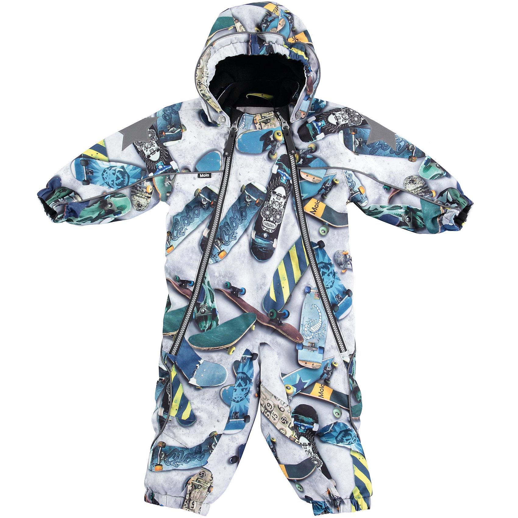 Комбинезон MOLO для мальчикаВерхняя одежда<br>Зимний комбинезон Molo <br>• состав: 100% нейлон, 100% полиэстер<br>• температурный режим: 0° до -25° градусов<br>• утеплитель:  ThinsulateTM  прекрасно сохраняющий тепло,  позволяет телу дышать и остается при этом сухим и легким<br>• водонепроницаемость: 10 000 мм<br>• отвод влаги: 8 000 г/м2/24ч<br>• основные швы проклеены<br>• съёмный капюшон<br>• удобные молнии<br>• «дышащий» материал<br>• ветро- водо- и грязеотталкивающий материал<br>• ветрозащитная планка<br>• комфортная посадка<br>• прочные съёмные силиконовые штрипки<br>• страна производства: Китай<br>• страна бренда: Дания <br> Фантастический и причудливый датский бренд Molo это самый актуальный и стильный дизайн в детской одежде для маленьких модников.<br><br>Ширина мм: 215<br>Глубина мм: 88<br>Высота мм: 191<br>Вес г: 336<br>Цвет: белый<br>Возраст от месяцев: 24<br>Возраст до месяцев: 36<br>Пол: Мужской<br>Возраст: Детский<br>Размер: 98,80,86,92<br>SKU: 6995012