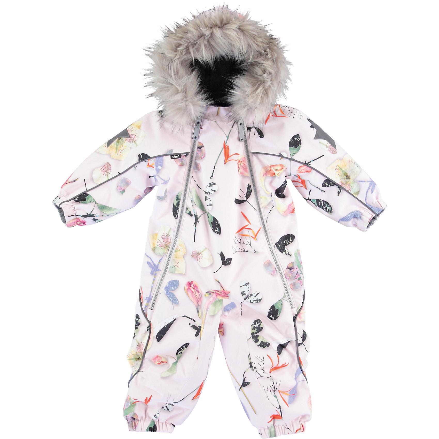 Комбинезон MOLO для девочкиВерхняя одежда<br>Зимний комбинезон Molo <br>• состав: 100% нейлон, 100% полиэстер<br>• температурный режим: 0° до -25° градусов<br>• утеплитель:  ThinsulateTM  прекрасно сохраняющий тепло,  позволяет телу дышать и остается при этом сухим и легким<br>• водонепроницаемость: 10 000 мм<br>• отвод влаги: 8 000 г/м2/24ч<br>• основные швы проклеены<br>• съёмный капюшон<br>• удобные молнии<br>• «дышащий» материал<br>• ветро- водо- и грязеотталкивающий материал<br>• ветрозащитная планка<br>• комфортная посадка<br>• прочные съёмные силиконовые штрипки<br>• страна производства: Китай<br>• страна бренда: Дания <br> Фантастический и причудливый датский бренд Molo это самый актуальный и стильный дизайн в детской одежде для маленьких модников.<br><br>Ширина мм: 215<br>Глубина мм: 88<br>Высота мм: 191<br>Вес г: 336<br>Цвет: белый<br>Возраст от месяцев: 18<br>Возраст до месяцев: 24<br>Пол: Женский<br>Возраст: Детский<br>Размер: 92,98,86,80<br>SKU: 6995021