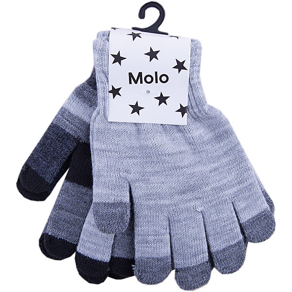 Перчатки MOLO для мальчикаПерчатки, варежки<br>Характеристики товара:<br><br>• цвет: серый<br>• комплектация: 2 пары<br>• состав ткани: 83% акрил, 15% спандекс, 2% эластан<br>• утеплитель: нет<br>• сезон: демисезон<br>• температурный режим: от -10 до +10<br>• застежка: нет<br>• страна бренда: Дания<br>• страна изготовитель: Китай<br><br>Обеспечить ребенку комфорт и тепло в межсезонье помогут такие теплые перчатки. В таком комплекте от известного бренда Molo - сразу две пары детских перчаток. Детские теплые перчатки плотно держатся на руке благодаря мягкой широкой резинке. Стильные перчатки сделаны из качественного материала - трикотажа плотной вязки. <br><br>Перчатки для мальчика Molo (Моло) можно купить в нашем интернет-магазине.<br>Ширина мм: 162; Глубина мм: 171; Высота мм: 55; Вес г: 119; Цвет: серый; Возраст от месяцев: 36; Возраст до месяцев: 120; Пол: Мужской; Возраст: Детский; Размер: one size; SKU: 6995220;