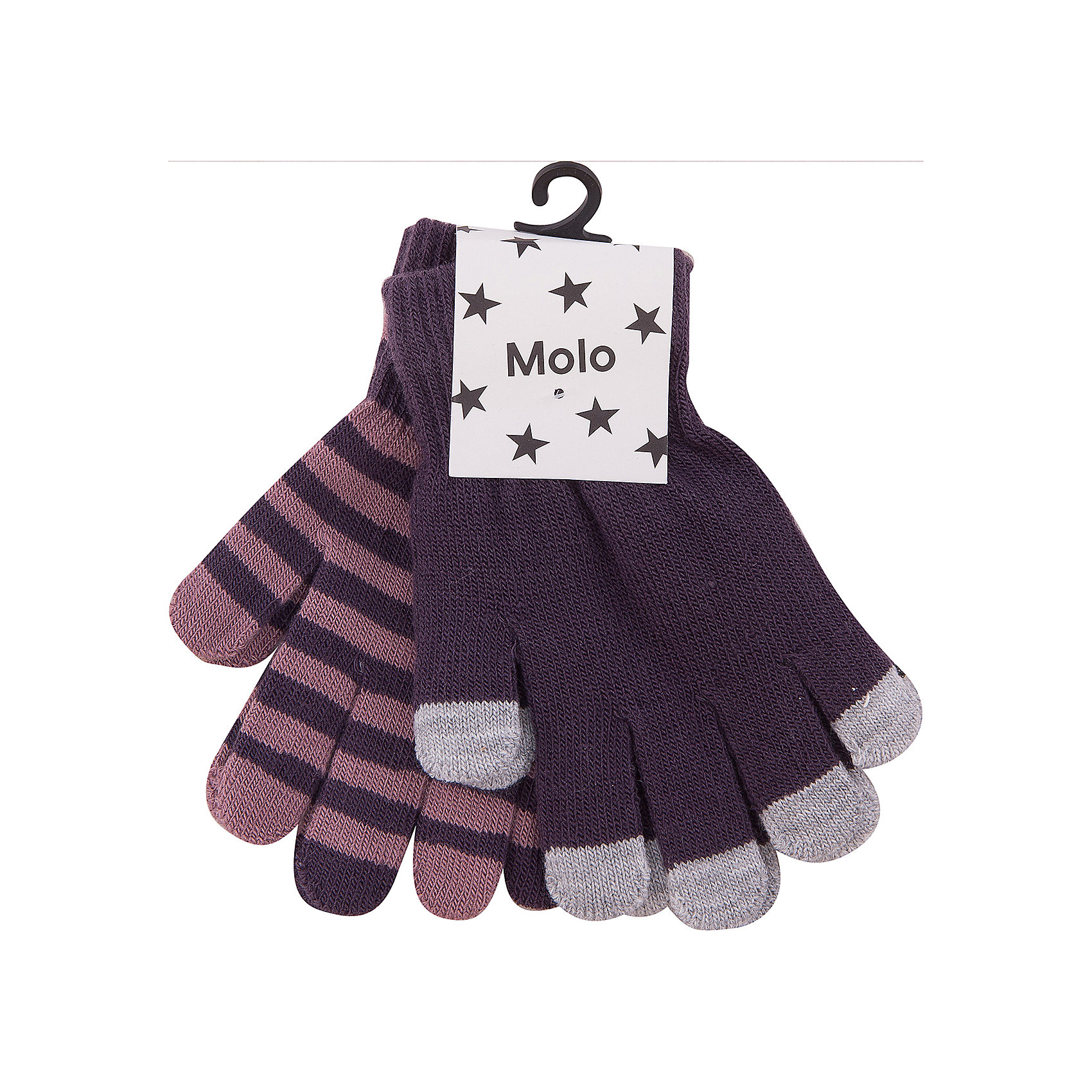 Перчатки MOLO для девочкиПерчатки, варежки<br>Характеристики товара:<br><br>• цвет: фиолетовый<br>• комплектация: 2 пары<br>• состав ткани: 83% акрил, 15% спандекс, 2% эластан<br>• утеплитель: нет<br>• сезон: демисезон<br>• температурный режим: от -10 до +10<br>• застежка: нет<br>• страна бренда: Дания<br>• страна изготовитель: Китай<br><br>Демисезонные детские перчатки сделаны из качественного материала - плотного трикотажа. Детские перчатки созданы для защиты от холода в межсезонье и небольшой мороз. Детские теплые перчатки не давят на руку благодаря мягкой резинке. Такие трикотажные перчатки для ребенка отличаются модным дизайном. <br><br>Перчатки для девочки Molo (Моло) можно купить в нашем интернет-магазине.<br><br>Ширина мм: 162<br>Глубина мм: 171<br>Высота мм: 55<br>Вес г: 119<br>Цвет: черный<br>Возраст от месяцев: 36<br>Возраст до месяцев: 120<br>Пол: Женский<br>Возраст: Детский<br>Размер: one size<br>SKU: 6995224