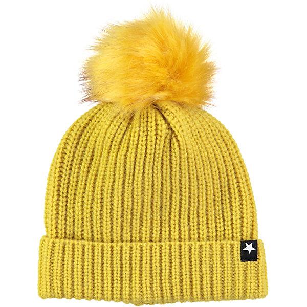 Шапка MOLO для девочкиГоловные уборы<br>Характеристики товара:<br><br>• цвет: желтый<br>• состав ткани: 80% шерсть, 20% нейлон<br>• сезон: зима<br>• температурный режим: от -15 до +5<br>• страна бренда: Дания<br>• страна изготовитель: Китай<br><br>Вязаная детская шапка легко стирается и долго служит. Стильная шапка для ребенка удобно держится на голове благодаря плотной структуре материала. Эта теплая шапка разработана специально для детей. Детская шапка обеспечит защиту от холода в межсезонье и морозы. <br><br>Шапку Molo (Моло) для девочки можно купить в нашем интернет-магазине.<br><br>Ширина мм: 89<br>Глубина мм: 117<br>Высота мм: 44<br>Вес г: 155<br>Цвет: желтый<br>Возраст от месяцев: 12<br>Возраст до месяцев: 18<br>Пол: Женский<br>Возраст: Детский<br>Размер: 46-48,55-57,54-56,50-54<br>SKU: 6995299