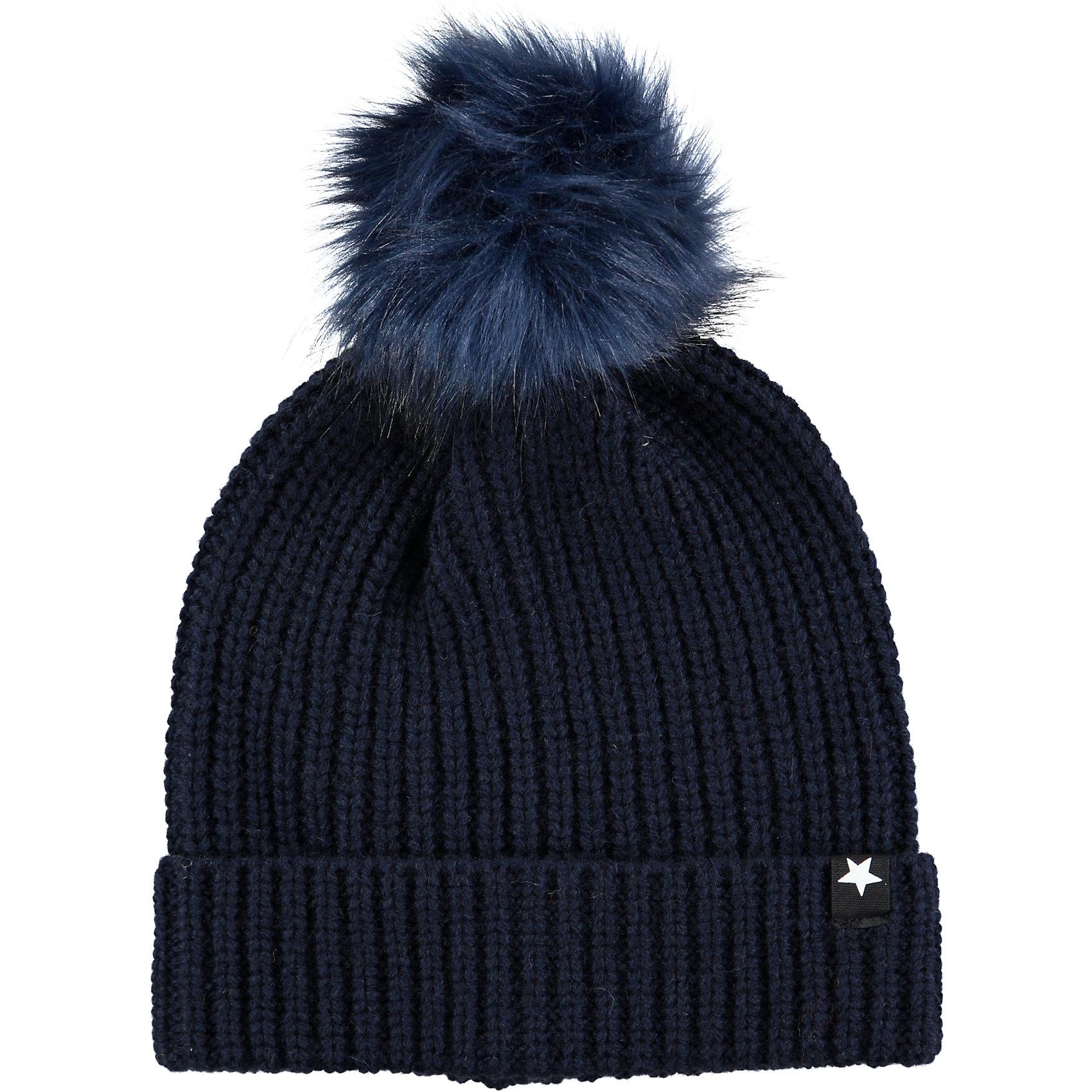 Шапка MOLO для девочкиШапочки<br>Шапка зимняя Molo отлично защищает от холода и ветра, изготовлена из высококачественных материалов не вызывающих аллергию, имеет дополнительный флисовый слой<br><br>Ширина мм: 89<br>Глубина мм: 117<br>Высота мм: 44<br>Вес г: 155<br>Цвет: темно-синий<br>Возраст от месяцев: 0<br>Возраст до месяцев: 3<br>Пол: Женский<br>Возраст: Детский<br>Размер: 55-57,46-48,54-56<br>SKU: 6995304